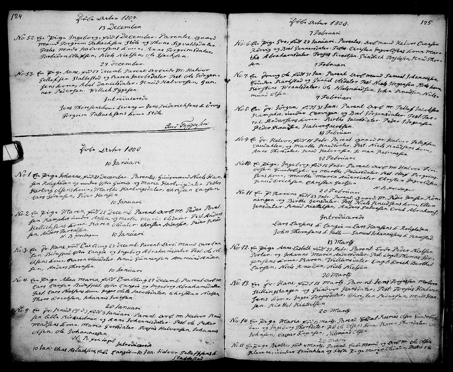SAKO, Kragerø kirkebøker, G/Ga/L0001: Klokkerbok nr. 1 /2, 1806-1811, s. 124-125