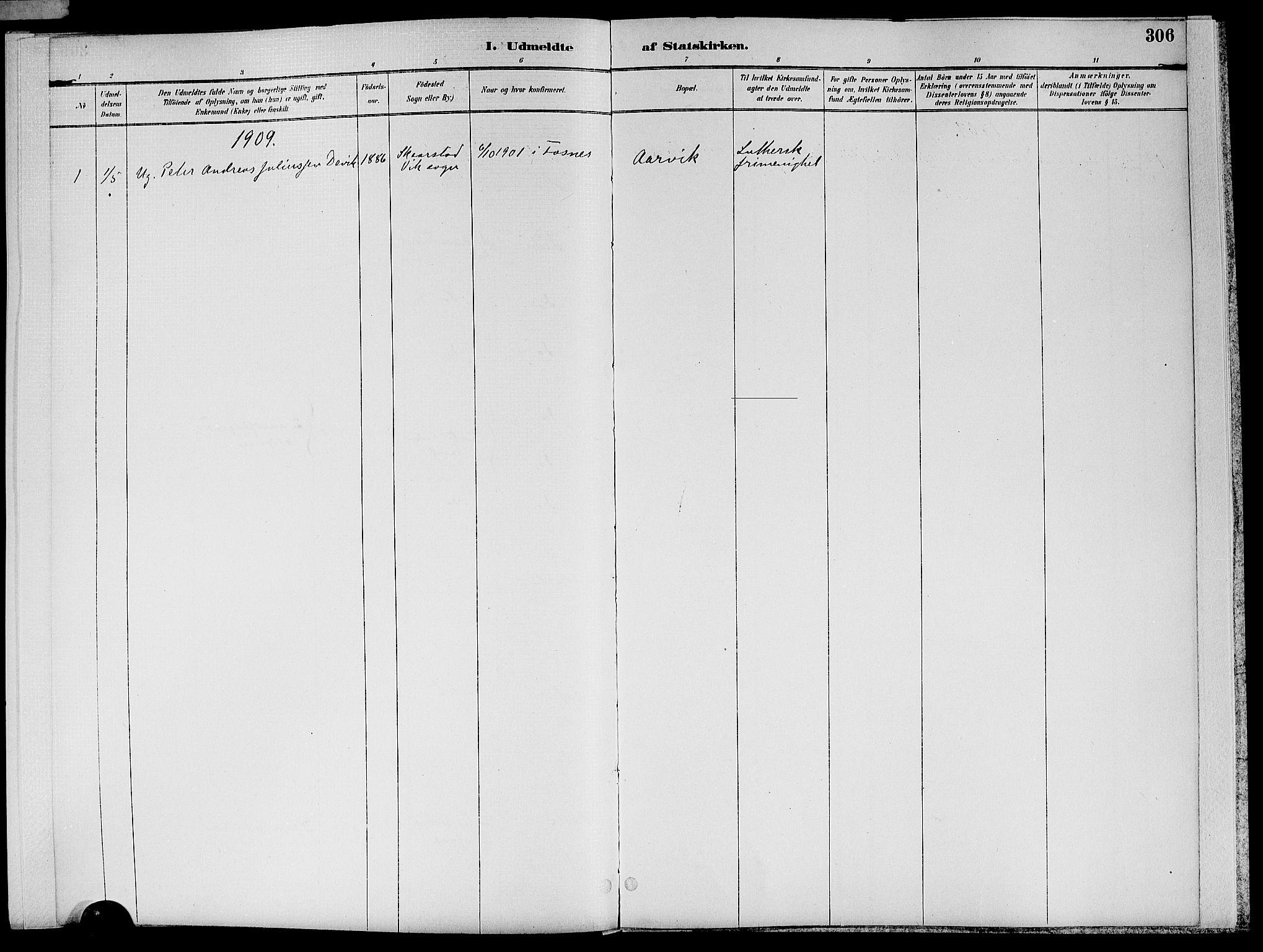 SAT, Ministerialprotokoller, klokkerbøker og fødselsregistre - Nord-Trøndelag, 773/L0617: Ministerialbok nr. 773A08, 1887-1910, s. 306