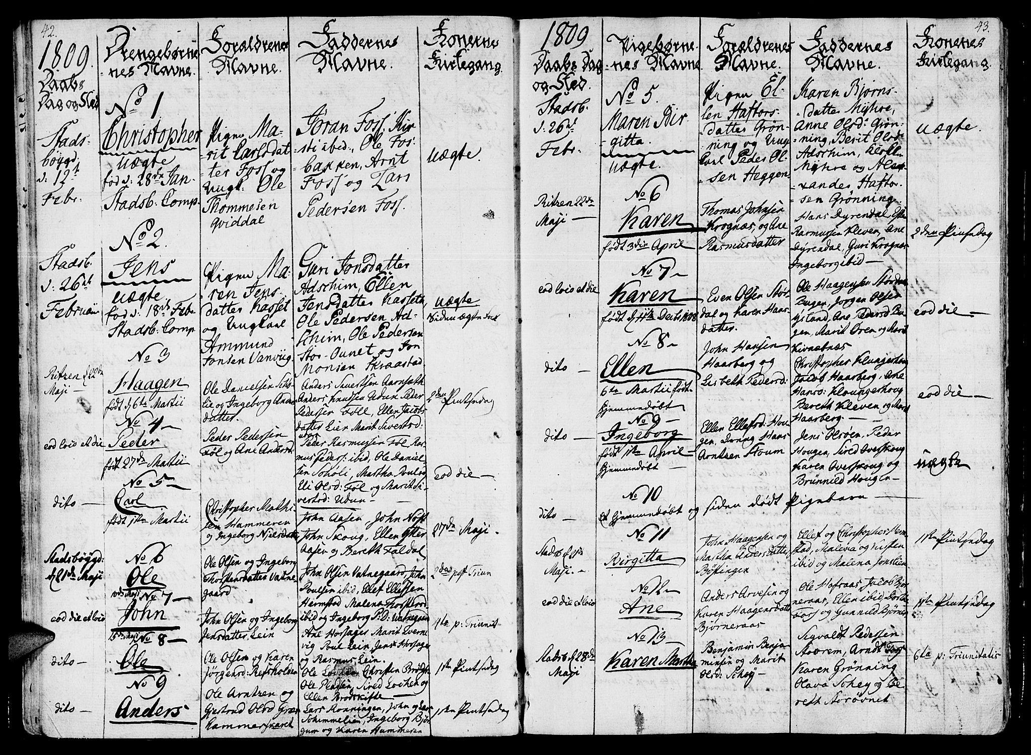 SAT, Ministerialprotokoller, klokkerbøker og fødselsregistre - Sør-Trøndelag, 646/L0607: Ministerialbok nr. 646A05, 1806-1815, s. 42-43