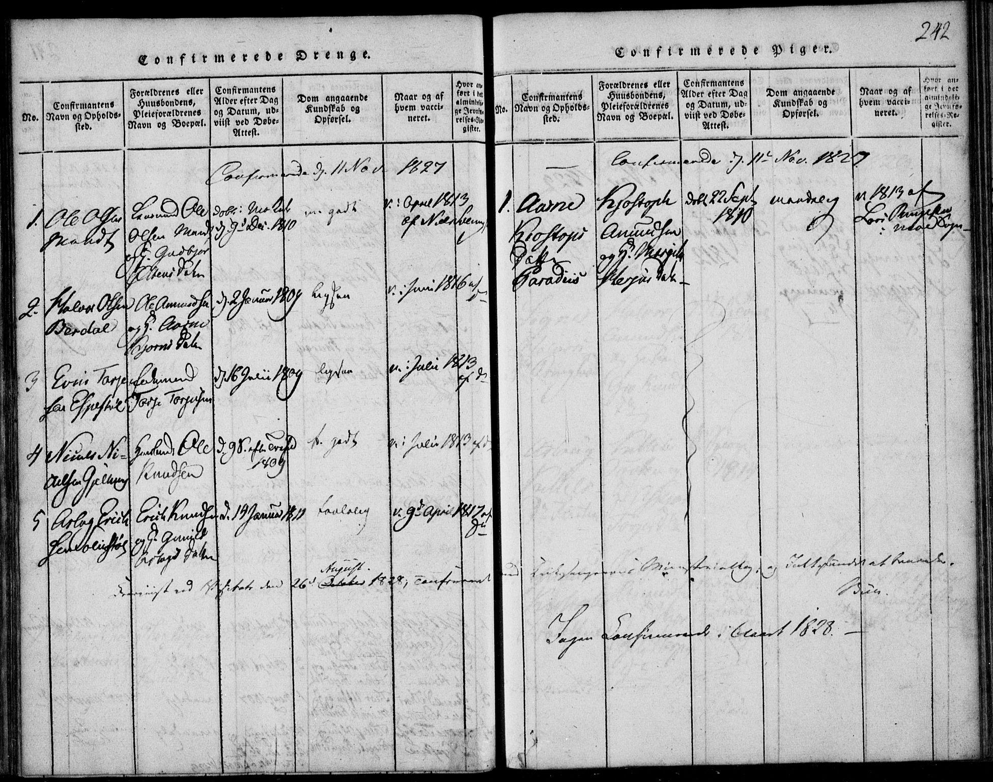 SAKO, Vinje kirkebøker, F/Fb/L0001: Ministerialbok nr. II 1, 1814-1843, s. 242