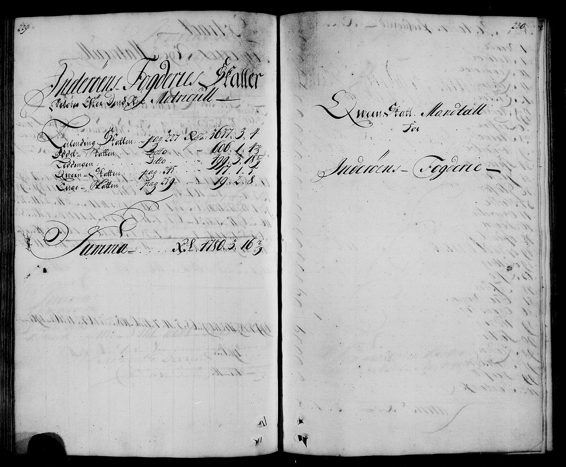 RA, Rentekammeret inntil 1814, Realistisk ordnet avdeling, N/Nb/Nbf/L0167: Inderøy matrikkelprotokoll, 1723, s. 229-230
