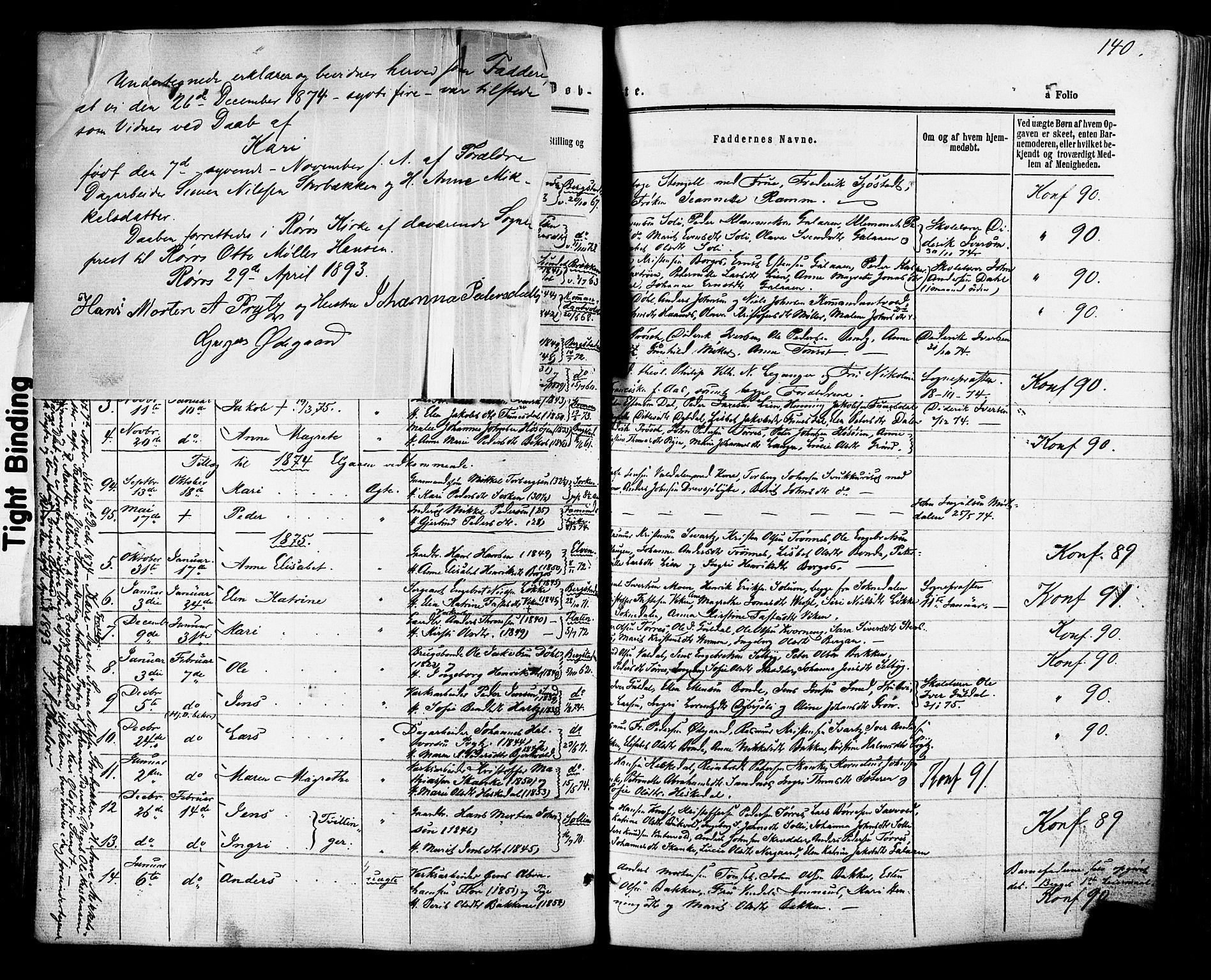 SAT, Ministerialprotokoller, klokkerbøker og fødselsregistre - Sør-Trøndelag, 681/L0932: Ministerialbok nr. 681A10, 1860-1878, s. 140