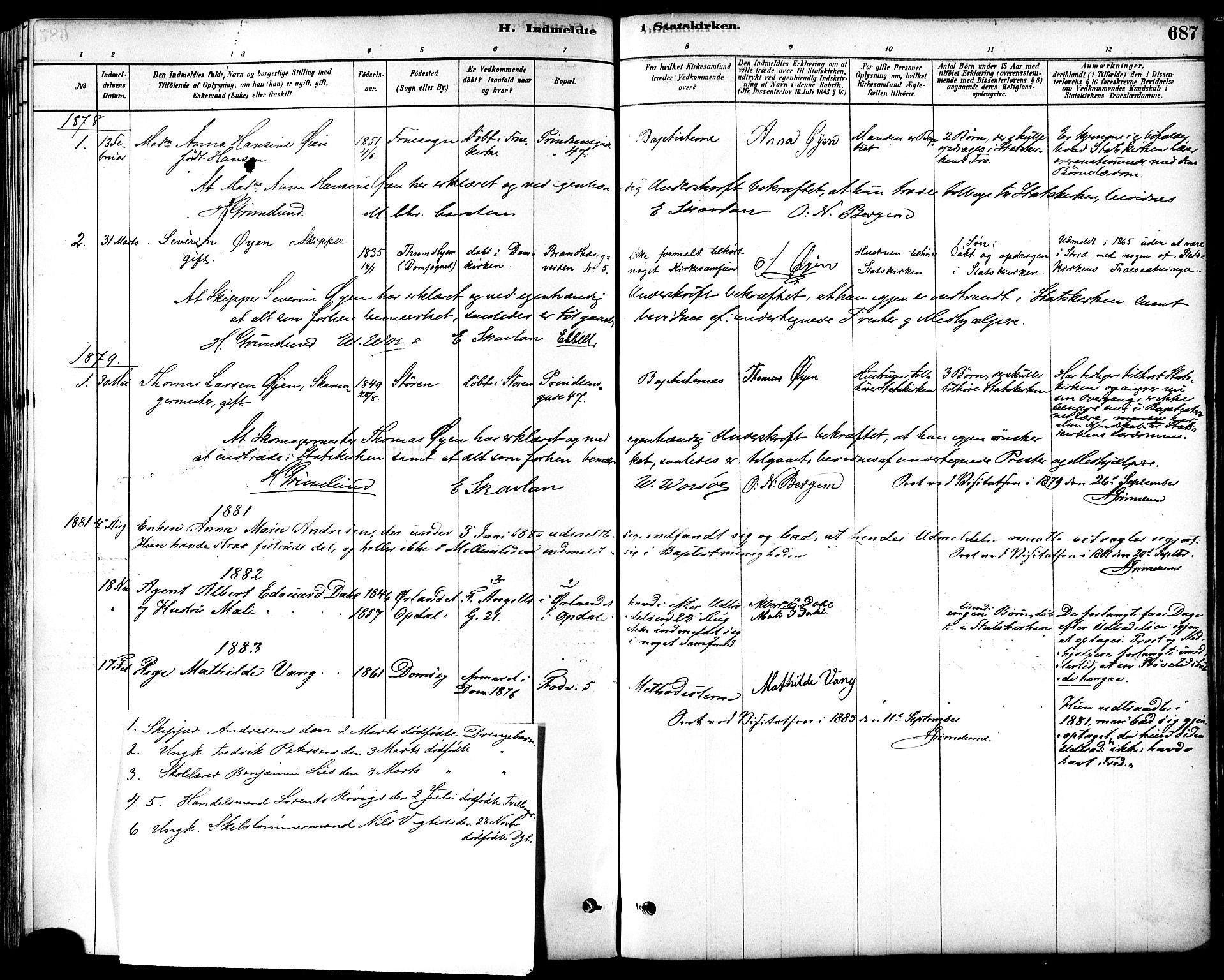 SAT, Ministerialprotokoller, klokkerbøker og fødselsregistre - Sør-Trøndelag, 601/L0058: Ministerialbok nr. 601A26, 1877-1891, s. 687