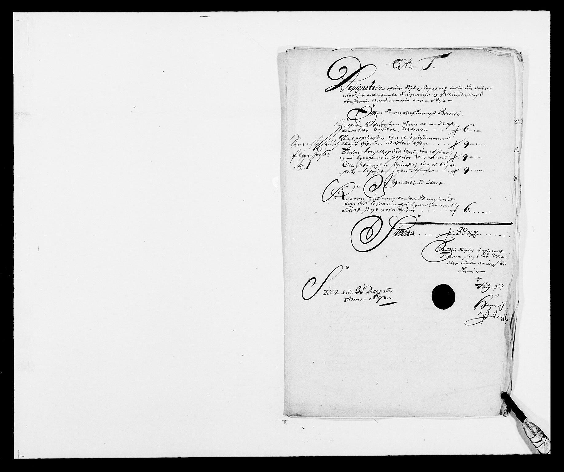 RA, Rentekammeret inntil 1814, Reviderte regnskaper, Fogderegnskap, R21/L1449: Fogderegnskap Ringerike og Hallingdal, 1690-1692, s. 7