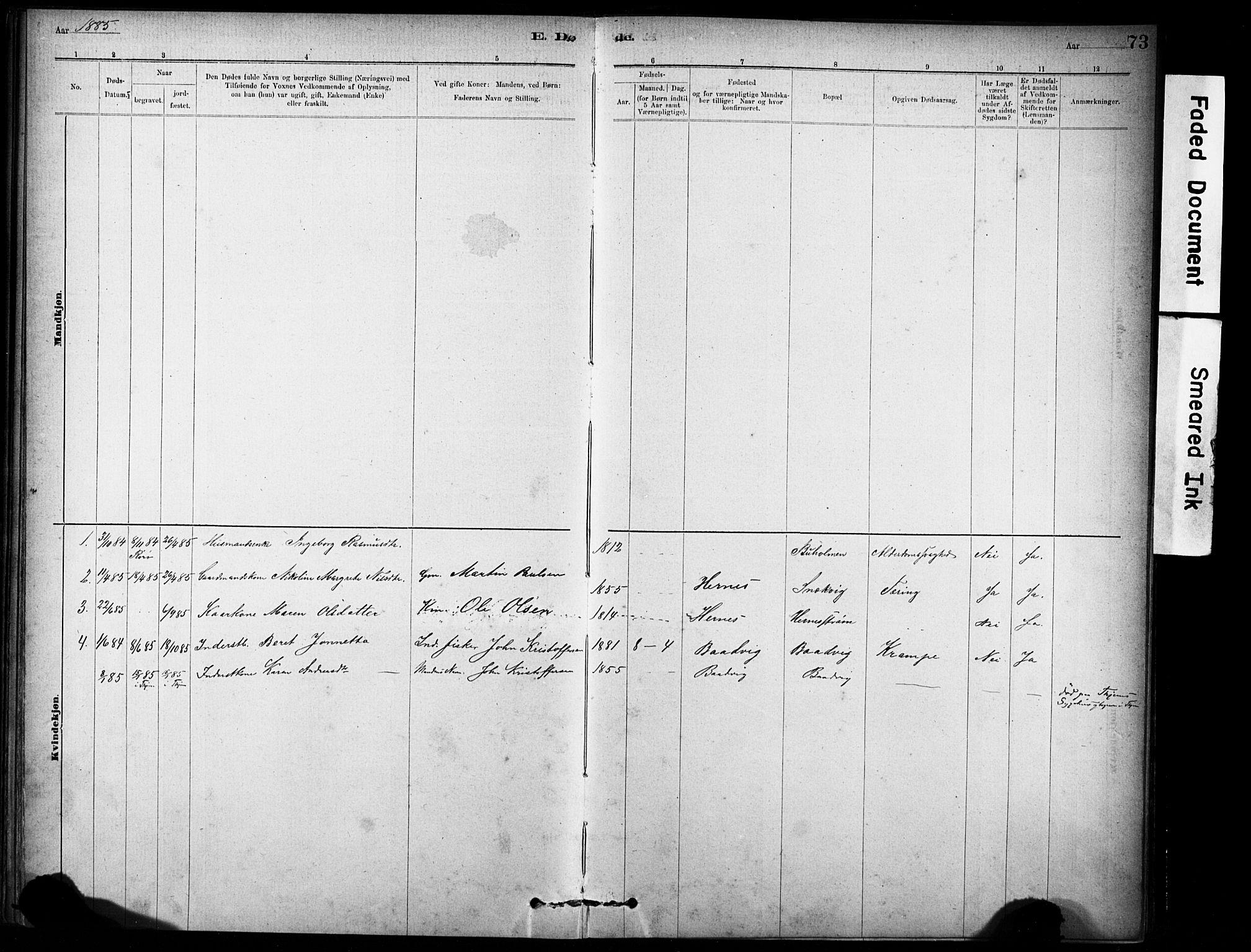 SAT, Ministerialprotokoller, klokkerbøker og fødselsregistre - Sør-Trøndelag, 635/L0551: Ministerialbok nr. 635A01, 1882-1899, s. 73