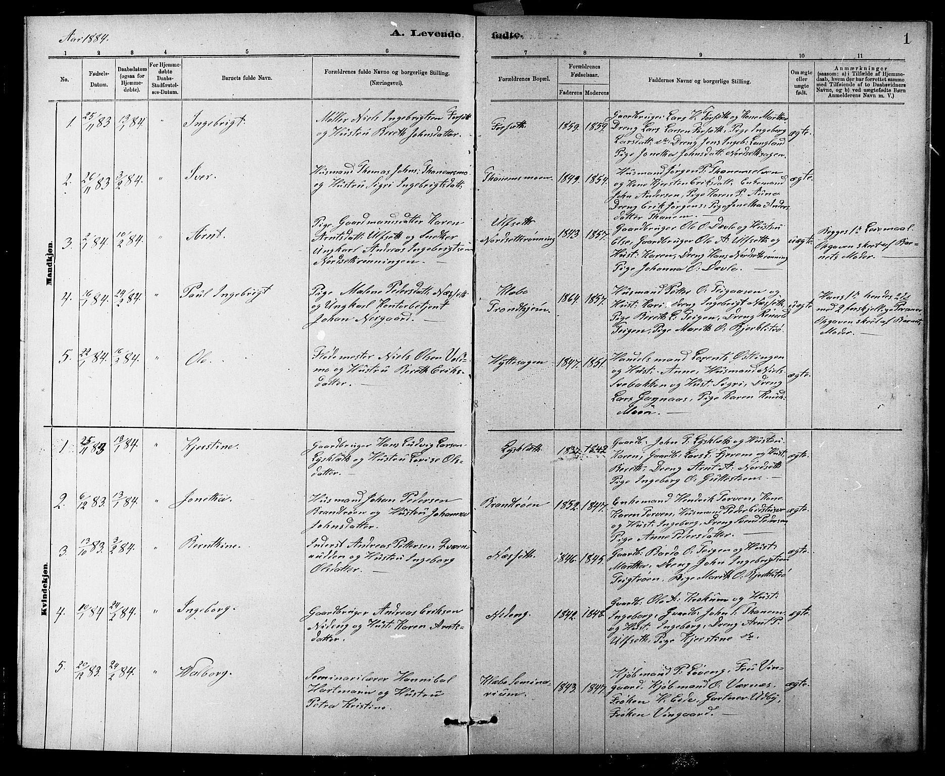 SAT, Ministerialprotokoller, klokkerbøker og fødselsregistre - Sør-Trøndelag, 618/L0452: Klokkerbok nr. 618C03, 1884-1906, s. 1
