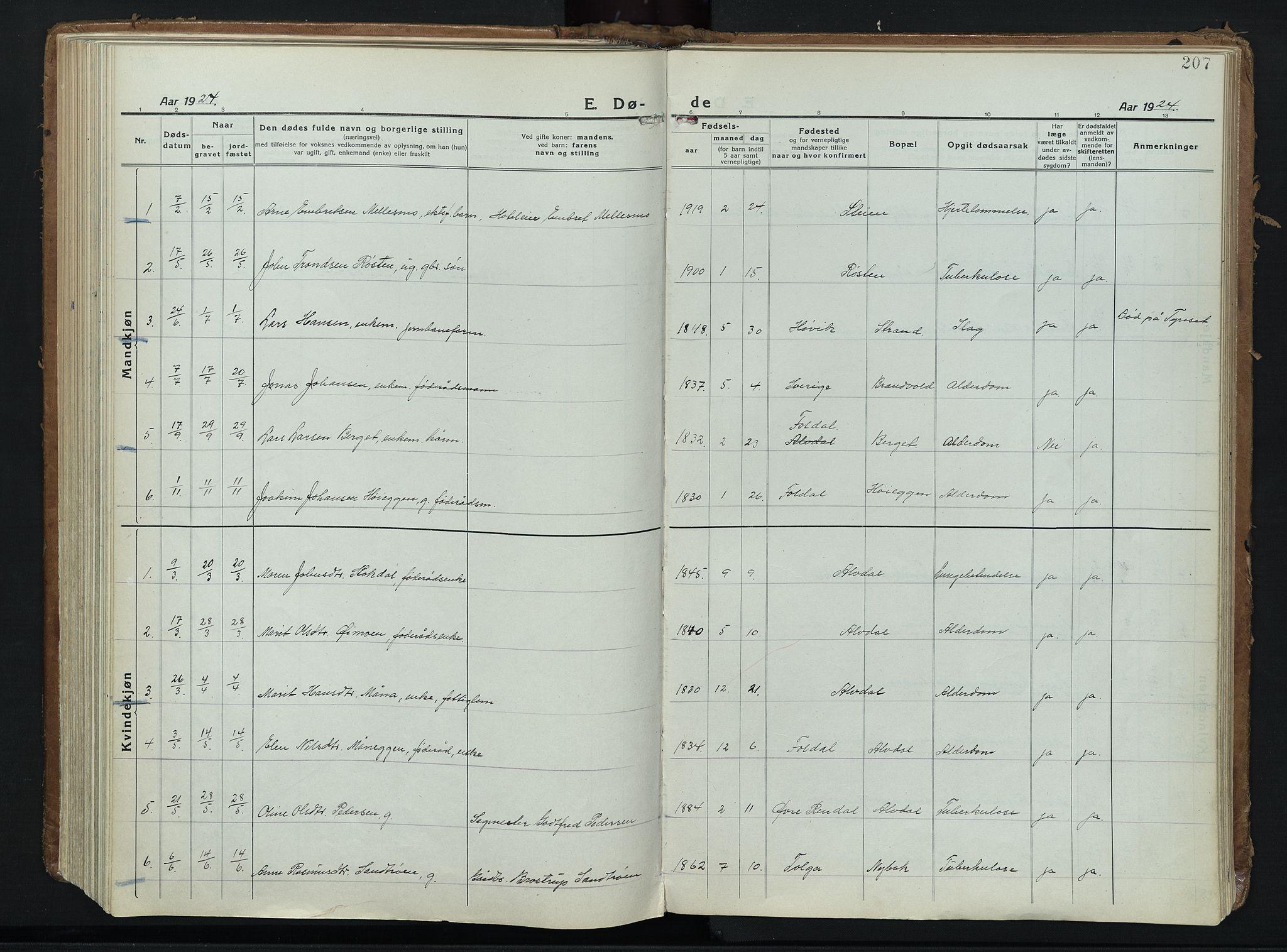 SAH, Alvdal prestekontor, Ministerialbok nr. 6, 1920-1937, s. 207