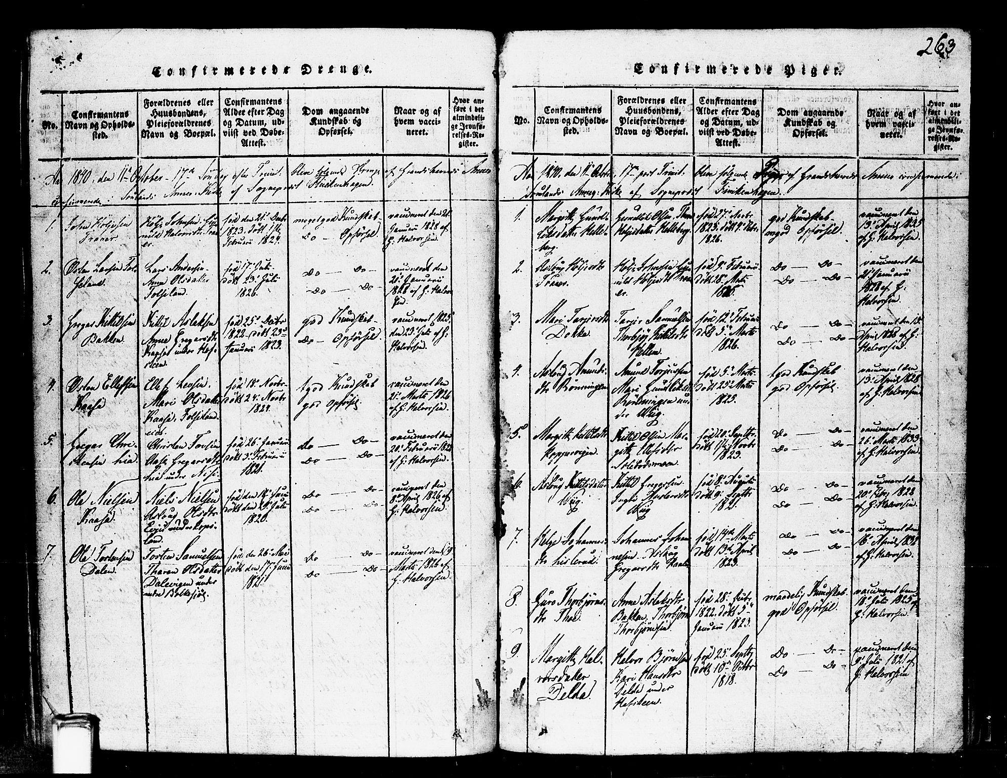 SAKO, Gransherad kirkebøker, F/Fa/L0001: Ministerialbok nr. I 1, 1815-1843, s. 263
