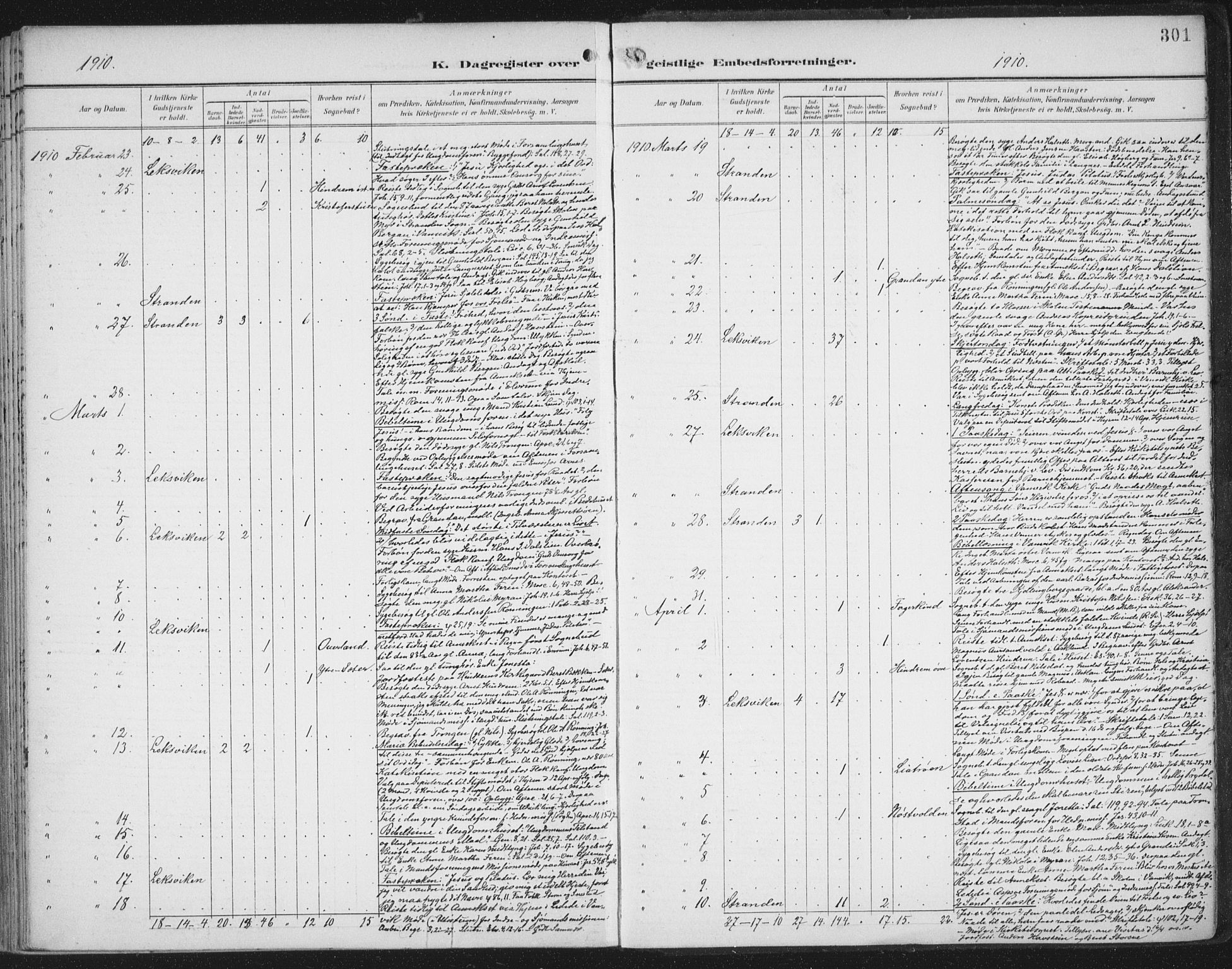 SAT, Ministerialprotokoller, klokkerbøker og fødselsregistre - Nord-Trøndelag, 701/L0011: Ministerialbok nr. 701A11, 1899-1915, s. 301