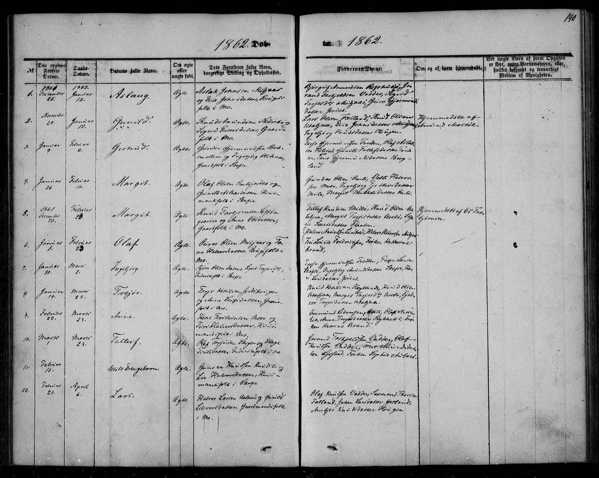SAKO, Mo kirkebøker, F/Fa/L0005: Ministerialbok nr. I 5, 1844-1864, s. 140
