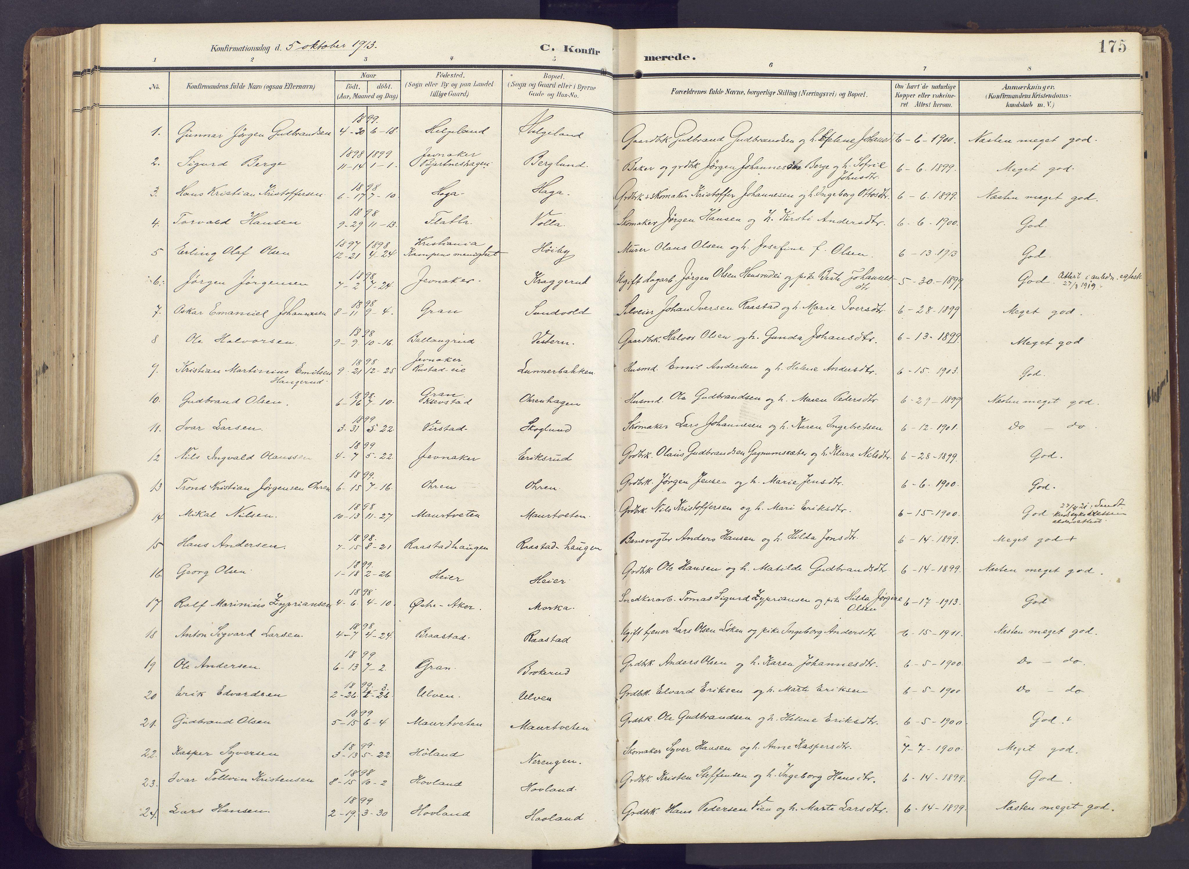 SAH, Lunner prestekontor, H/Ha/Haa/L0001: Ministerialbok nr. 1, 1907-1922, s. 175
