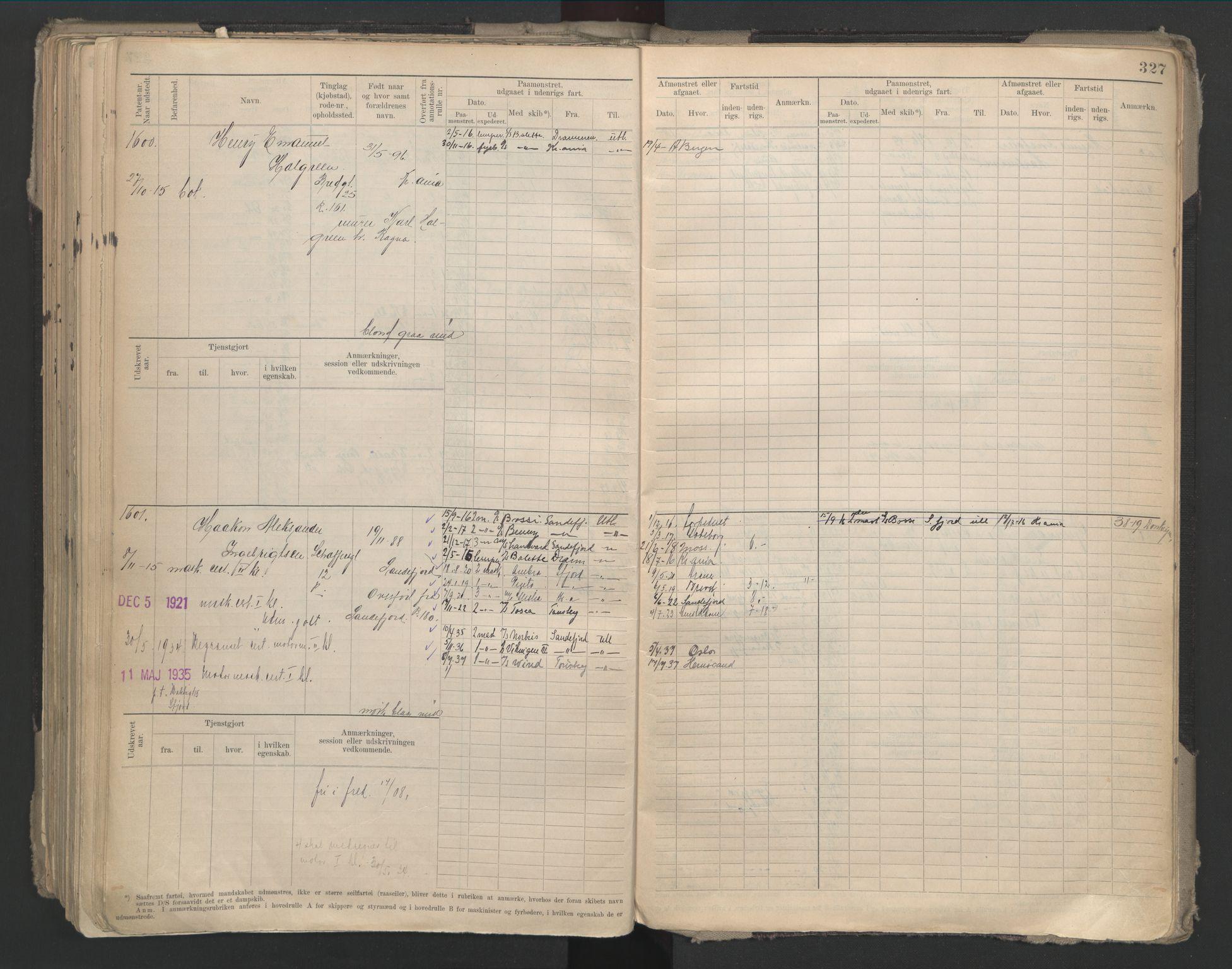 SAO, Oslo sjømannskontor, F/Fd/L0002: B-rulle, 1906-1916, s. 326b-327a