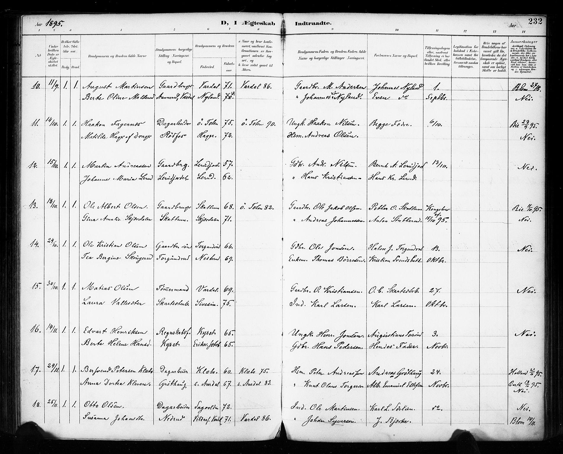 SAH, Vestre Toten prestekontor, H/Ha/Haa/L0011: Ministerialbok nr. 11, 1895-1906, s. 232