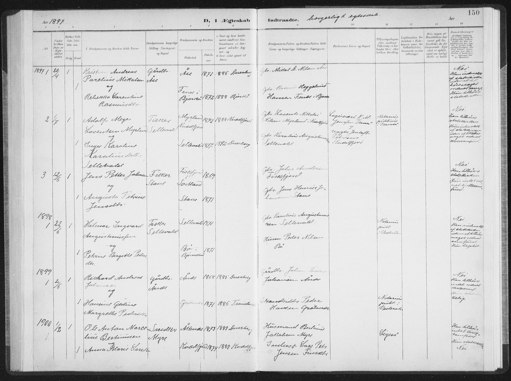 SAT, Ministerialprotokoller, klokkerbøker og fødselsregistre - Nordland, 897/L1400: Ministerialbok nr. 897A07, 1897-1908, s. 150