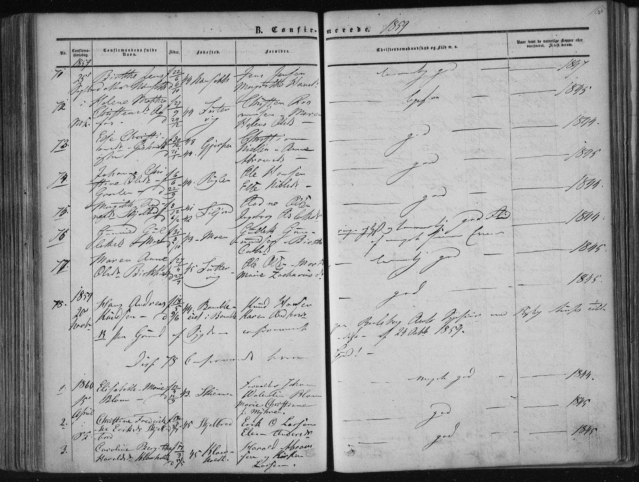 SAKO, Solum kirkebøker, F/Fa/L0007: Ministerialbok nr. I 7, 1856-1864, s. 168