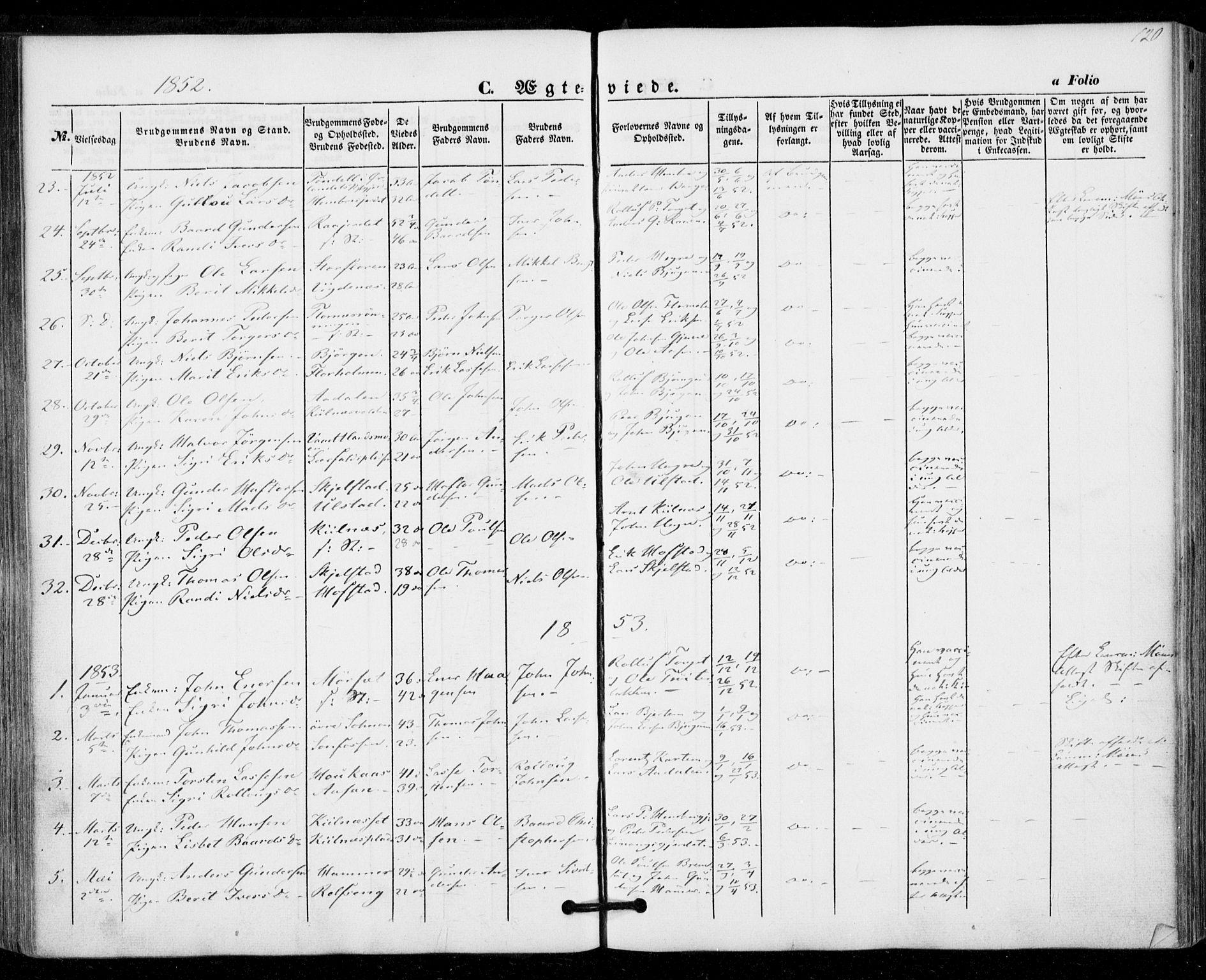 SAT, Ministerialprotokoller, klokkerbøker og fødselsregistre - Nord-Trøndelag, 703/L0028: Ministerialbok nr. 703A01, 1850-1862, s. 120