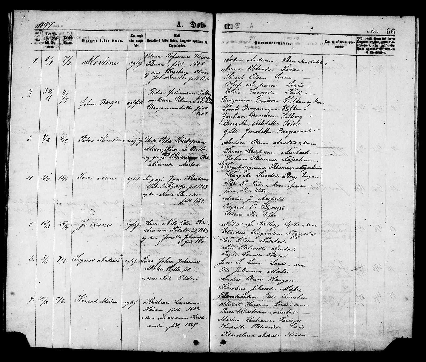 SAT, Ministerialprotokoller, klokkerbøker og fødselsregistre - Nord-Trøndelag, 731/L0311: Klokkerbok nr. 731C02, 1875-1911, s. 66