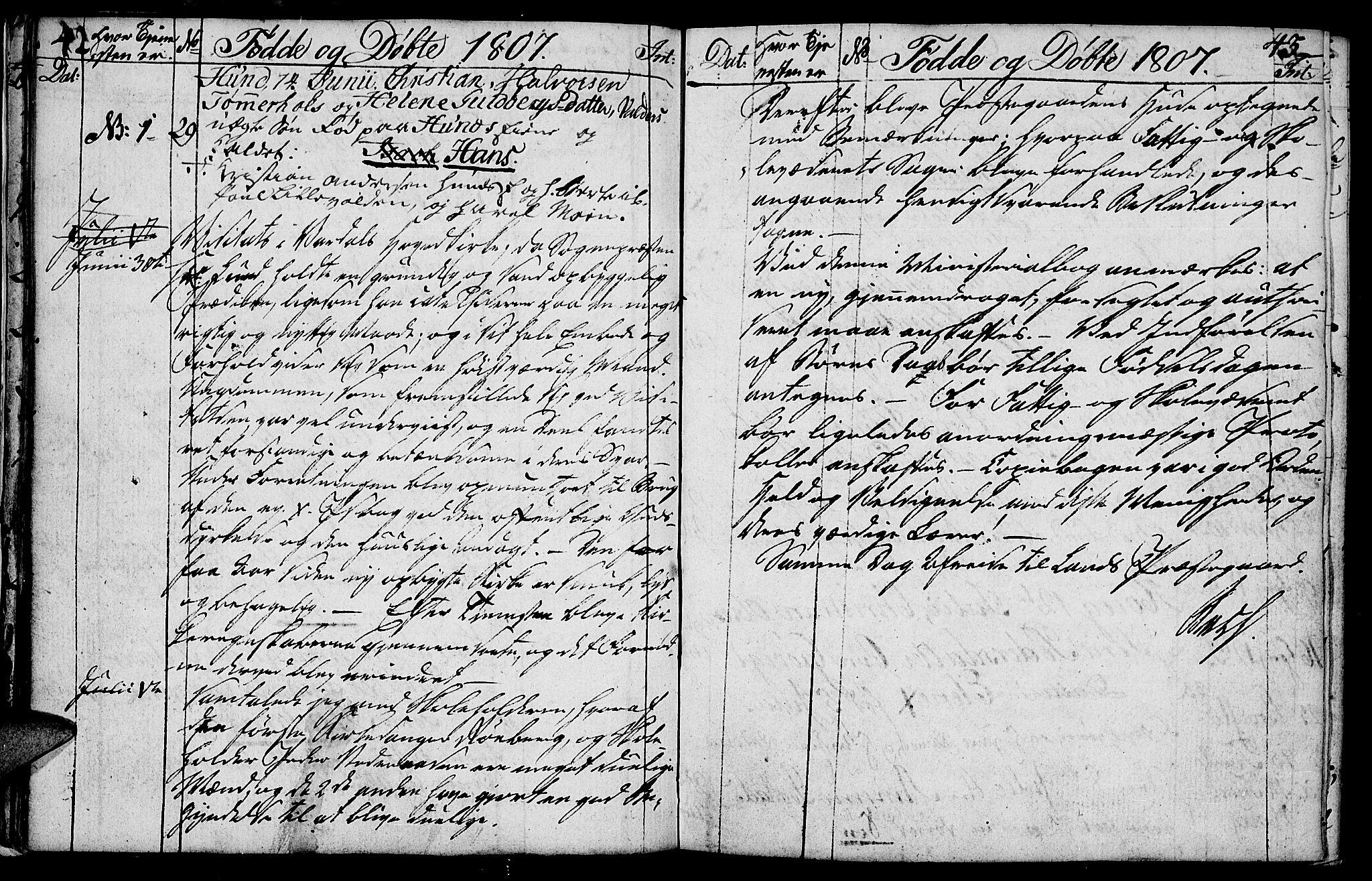 SAH, Vardal prestekontor, H/Ha/Hab/L0003: Klokkerbok nr. 3, 1803-1808, s. 42-43