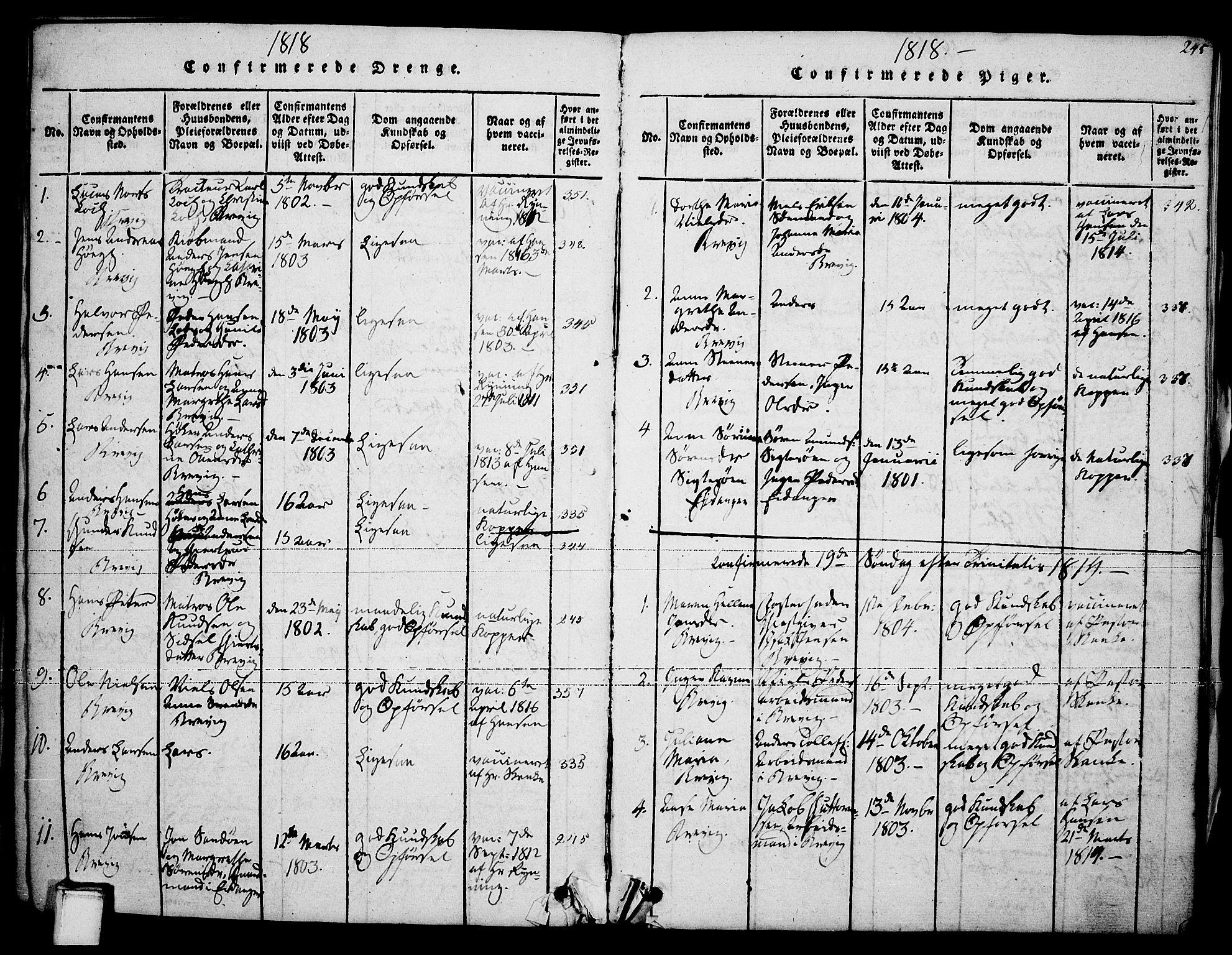 SAKO, Brevik kirkebøker, F/Fa/L0004: Ministerialbok nr. 4, 1814-1846, s. 245