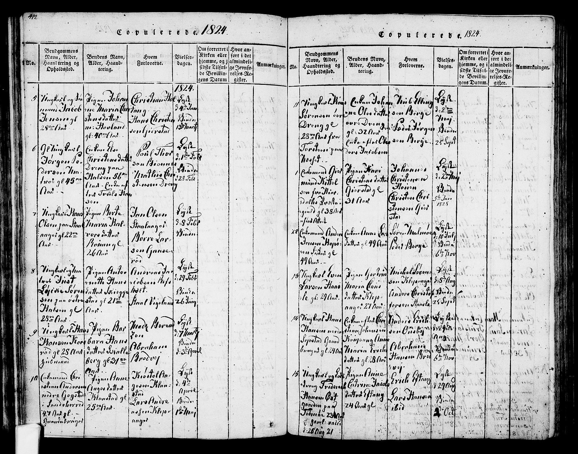 SAKO, Tjølling kirkebøker, F/Fa/L0005: Ministerialbok nr. 5, 1814-1836, s. 412-413