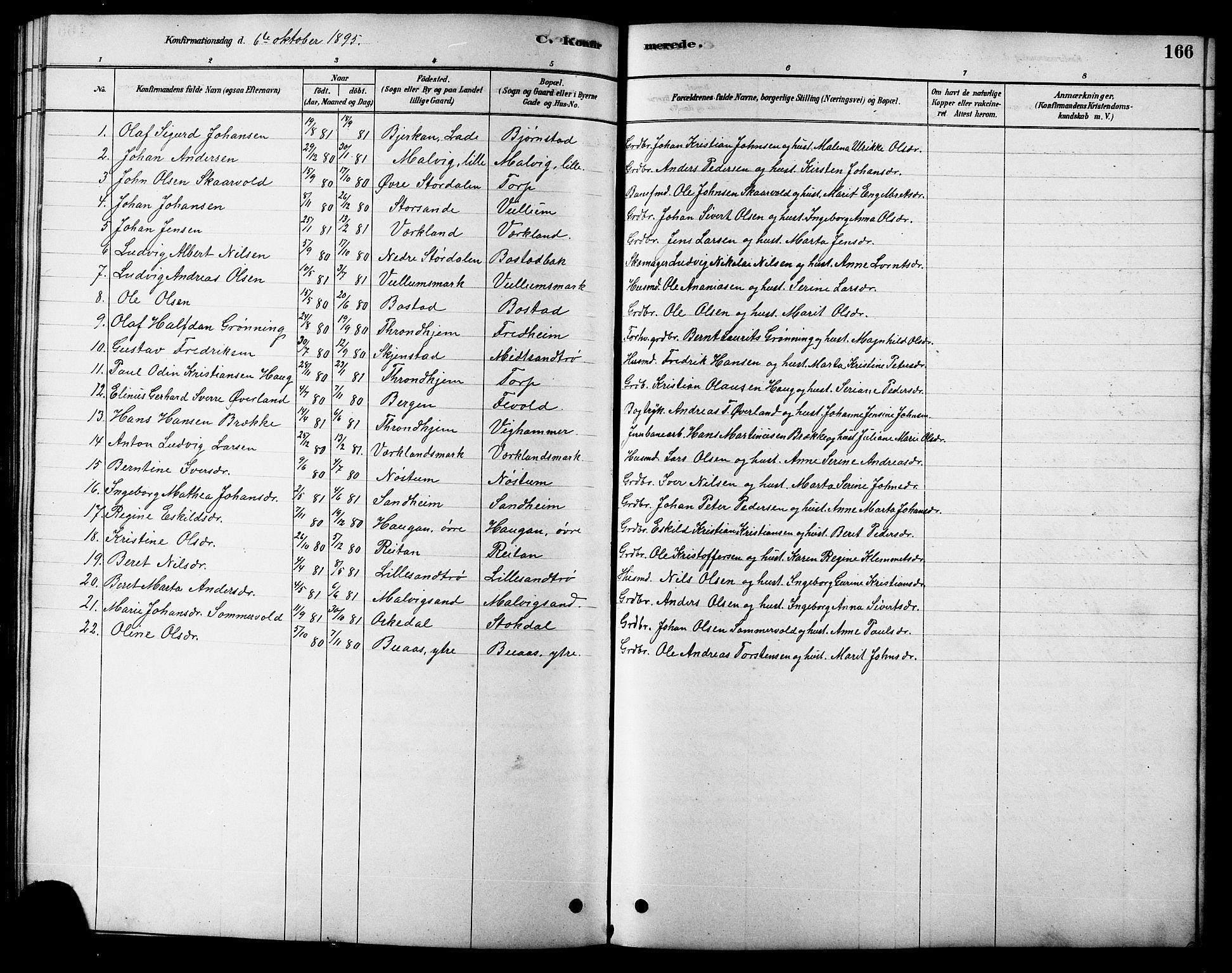 SAT, Ministerialprotokoller, klokkerbøker og fødselsregistre - Sør-Trøndelag, 616/L0423: Klokkerbok nr. 616C06, 1878-1903, s. 166