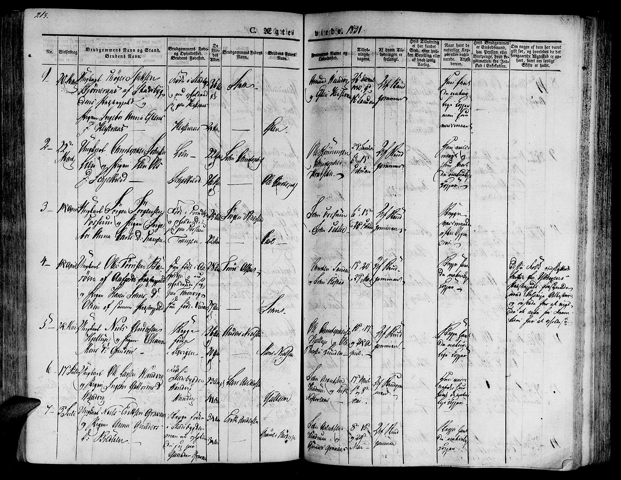 SAT, Ministerialprotokoller, klokkerbøker og fødselsregistre - Nord-Trøndelag, 701/L0006: Ministerialbok nr. 701A06, 1825-1841, s. 213