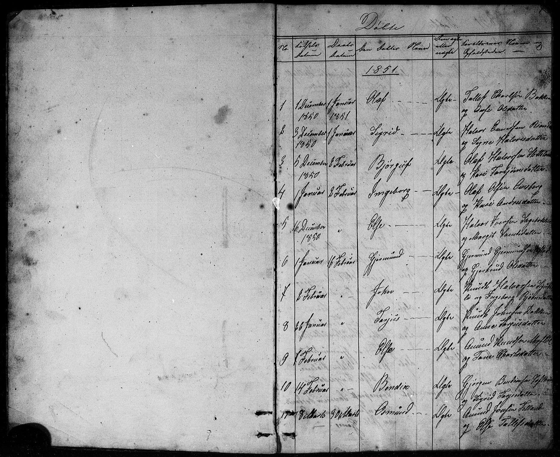 SAKO, Mo kirkebøker, G/Ga/L0001: Klokkerbok nr. I 1, 1851-1891, s. 1