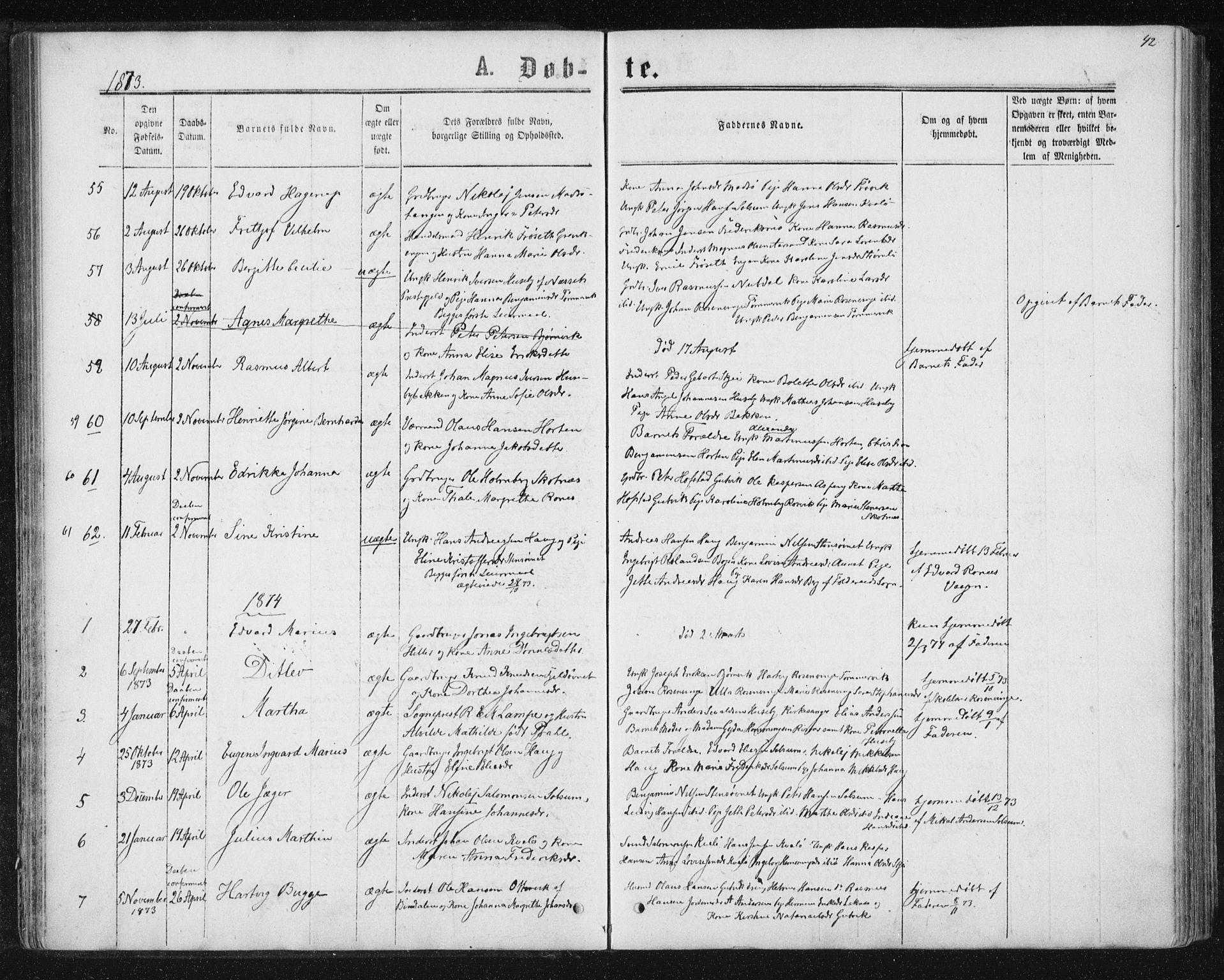 SAT, Ministerialprotokoller, klokkerbøker og fødselsregistre - Nord-Trøndelag, 788/L0696: Ministerialbok nr. 788A03, 1863-1877, s. 42