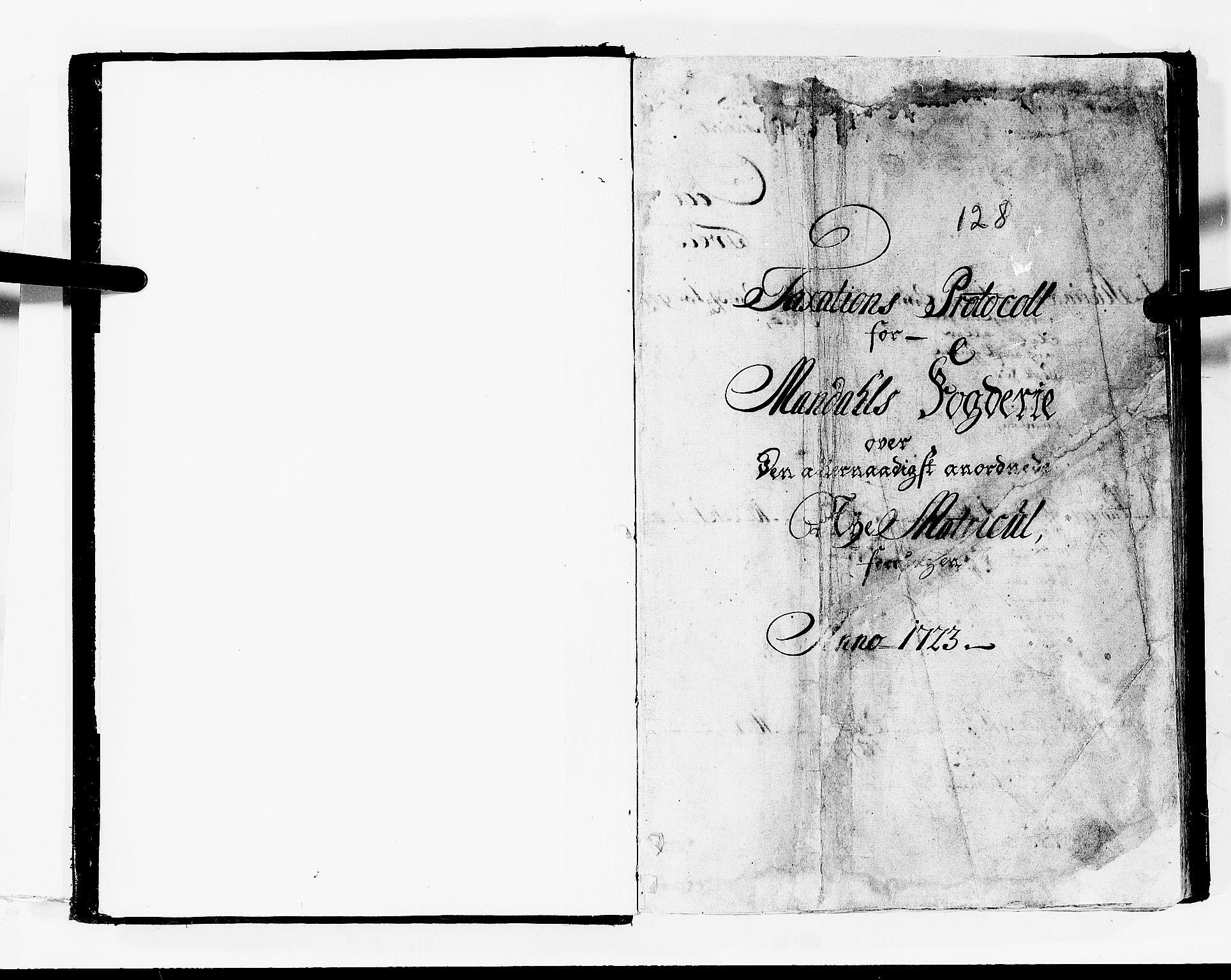 RA, Rentekammeret inntil 1814, Realistisk ordnet avdeling, N/Nb/Nbf/L0128: Mandal matrikkelprotokoll, 1723, s. 1a