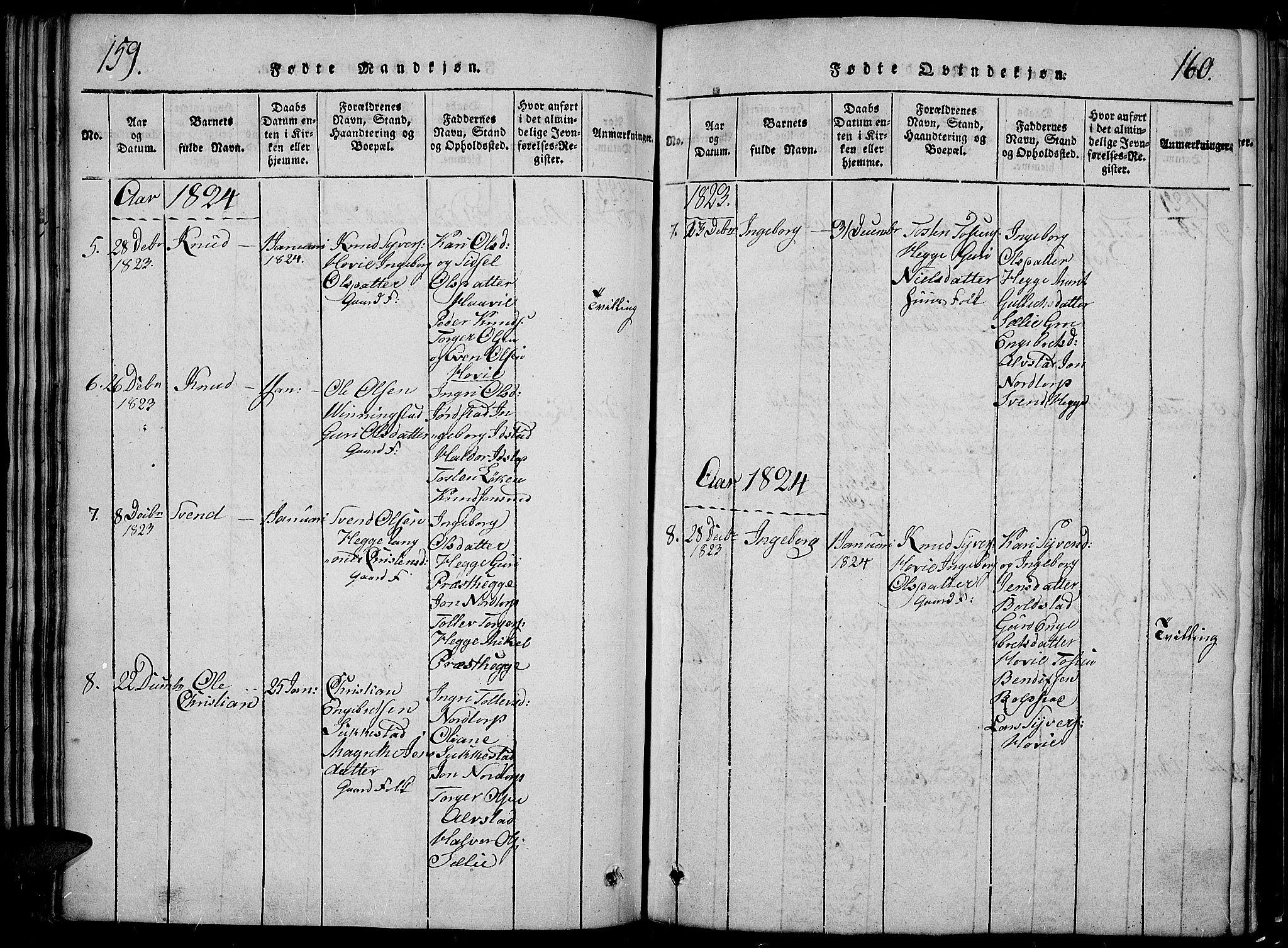 SAH, Slidre prestekontor, Klokkerbok nr. 2, 1814-1839, s. 159-160