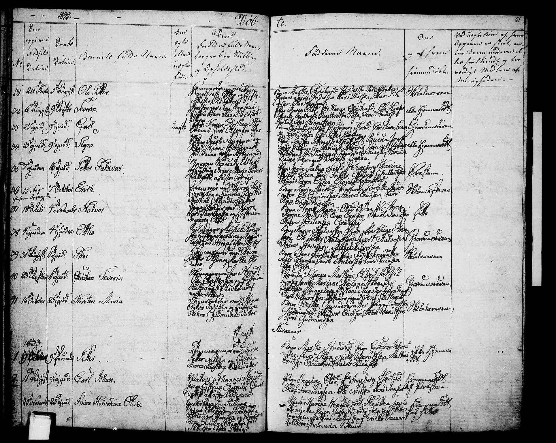 SAKO, Porsgrunn kirkebøker , F/Fa/L0005: Ministerialbok nr. 5, 1828-1840, s. 21
