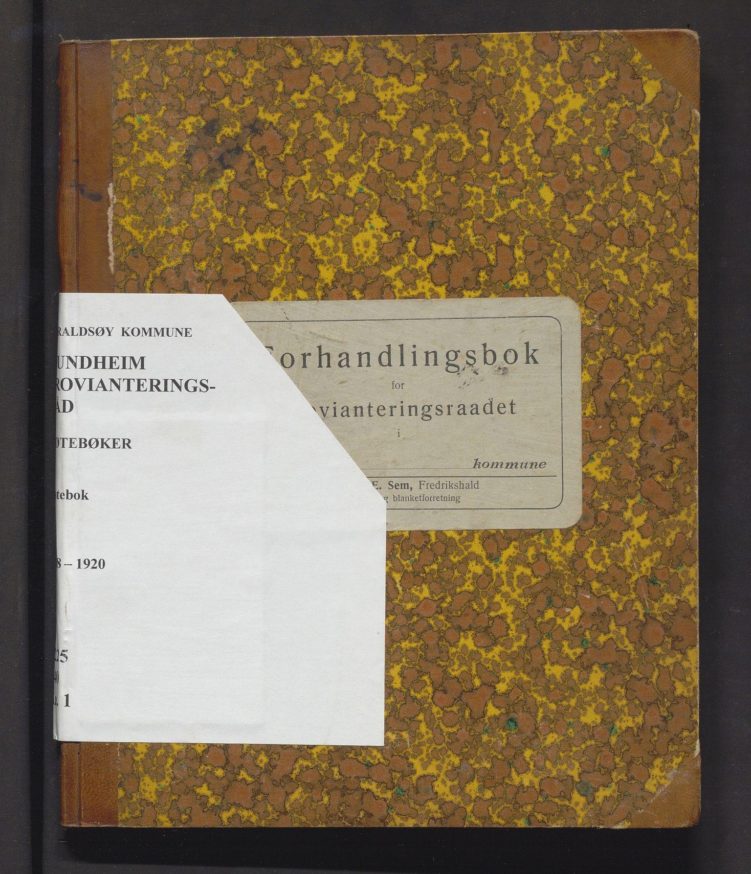 IKAH, Varaldsøy kommune. Mundheim provianteringsråd, A/Aa/L0001: Møtebok for Mundheim provianteringsråd , 1918-1920