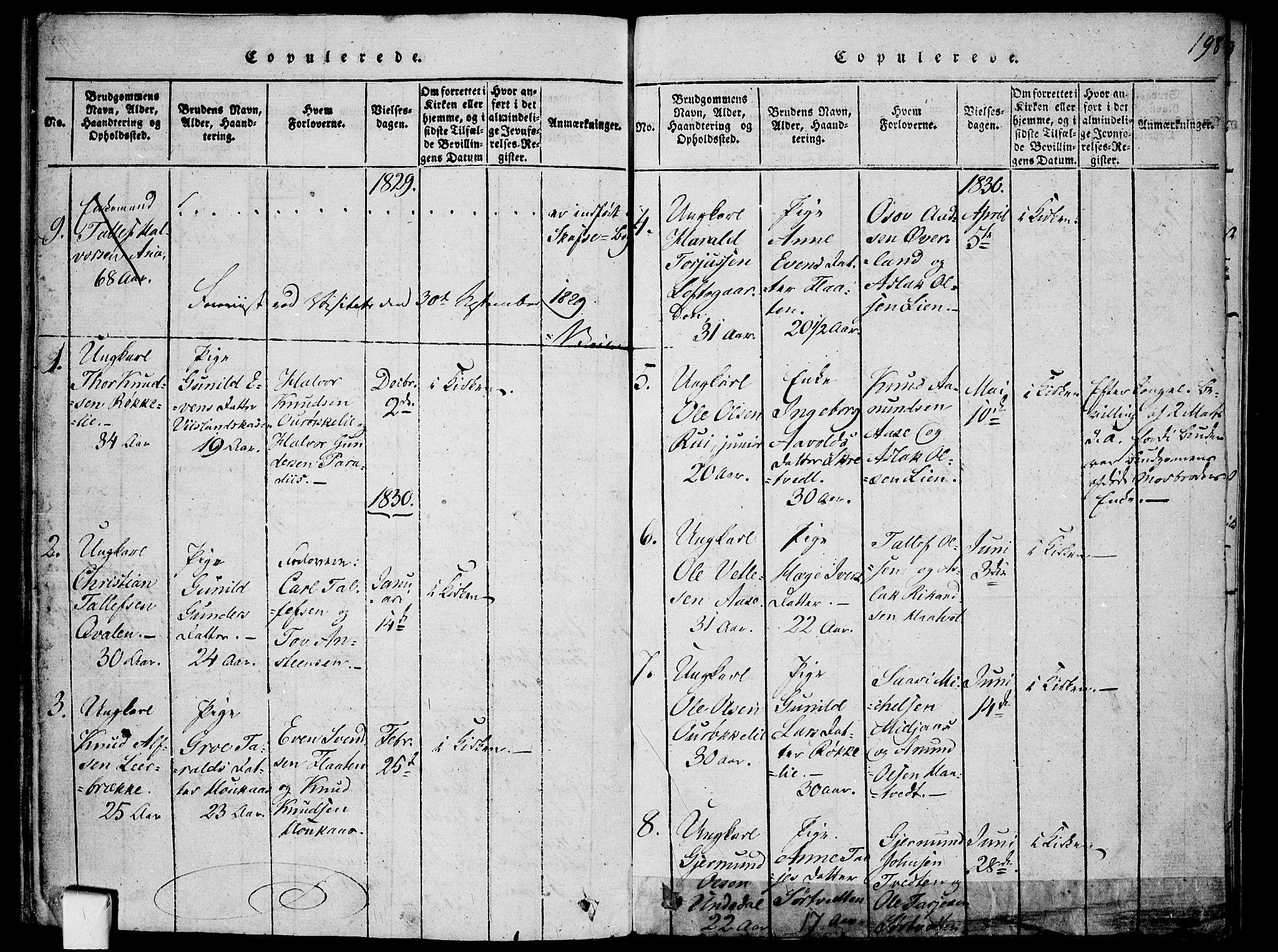 SAKO, Mo kirkebøker, F/Fa/L0004: Ministerialbok nr. I 4, 1814-1844, s. 198