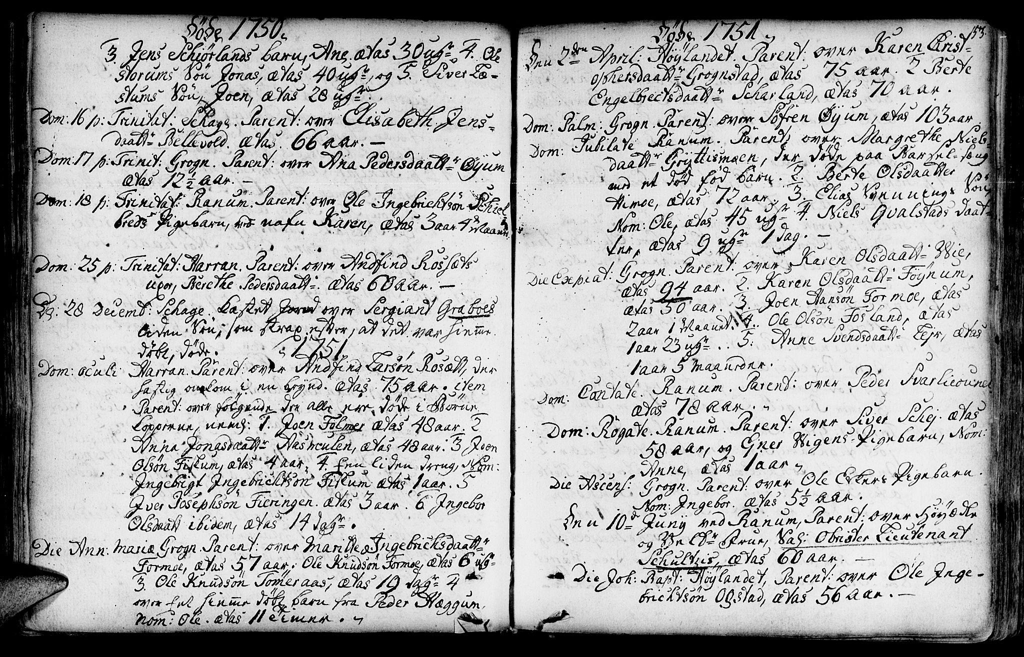 SAT, Ministerialprotokoller, klokkerbøker og fødselsregistre - Nord-Trøndelag, 764/L0542: Ministerialbok nr. 764A02, 1748-1779, s. 153
