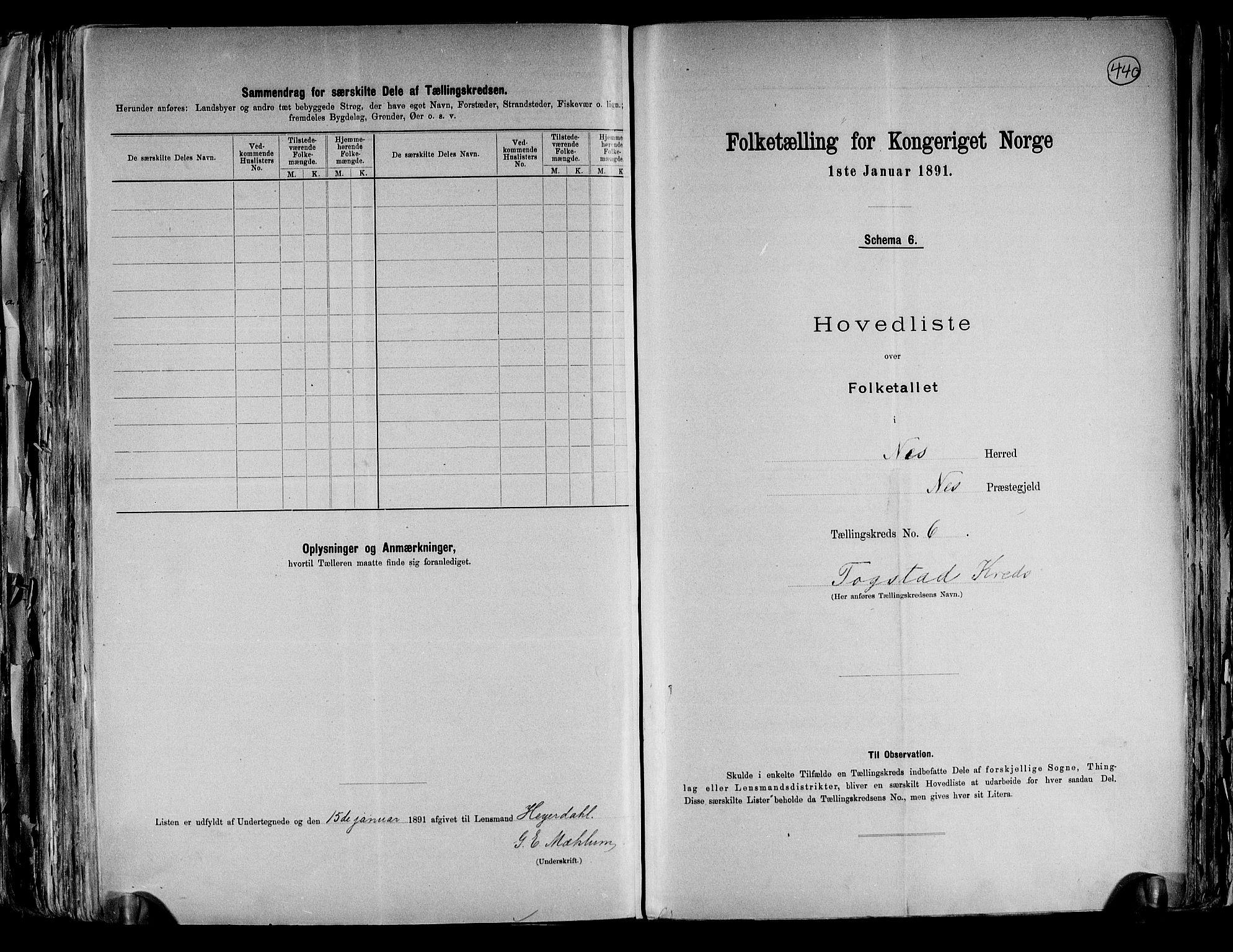 RA, Folketelling 1891 for 0236 Nes herred, 1891, s. 18