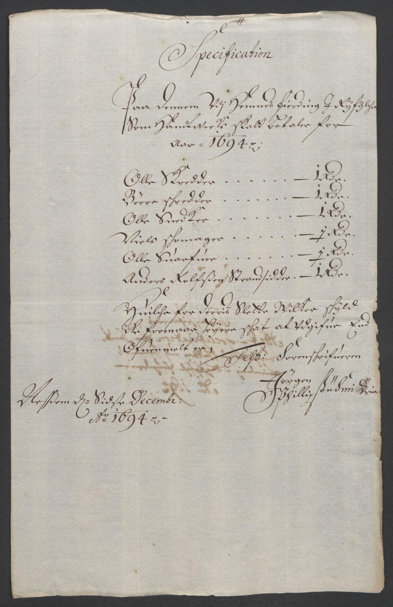 RA, Rentekammeret inntil 1814, Reviderte regnskaper, Fogderegnskap, R47/L2857: Fogderegnskap Ryfylke, 1694-1696, s. 51