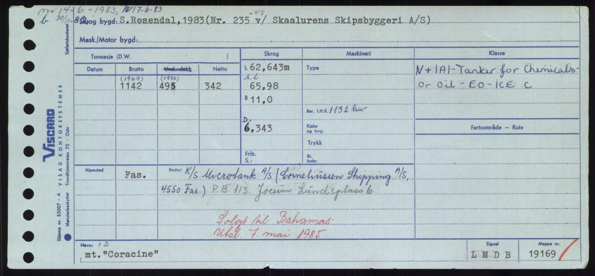 RA, Sjøfartsdirektoratet med forløpere, Skipsmålingen, H/Hd/L0008: Fartøy, C-D, s. 217
