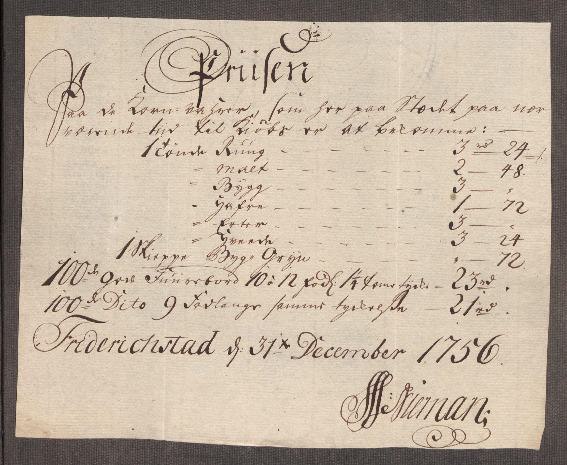 RA, Rentekammeret inntil 1814, Realistisk ordnet avdeling, Oe/L0005: [Ø1]: Priskuranter, 1753-1757, s. 586
