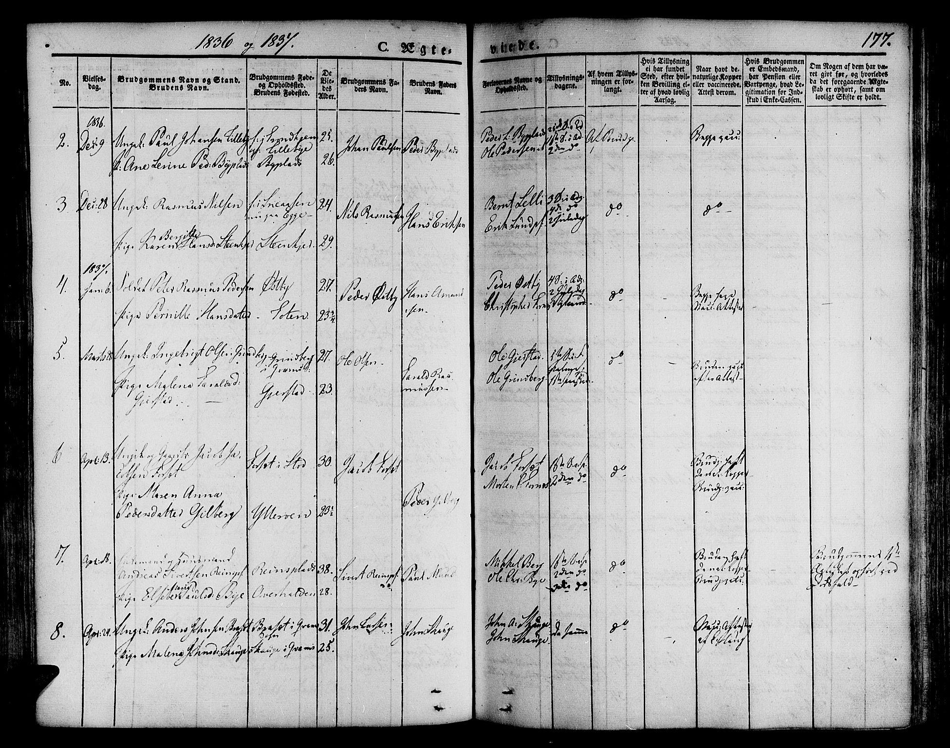 SAT, Ministerialprotokoller, klokkerbøker og fødselsregistre - Nord-Trøndelag, 746/L0445: Ministerialbok nr. 746A04, 1826-1846, s. 177