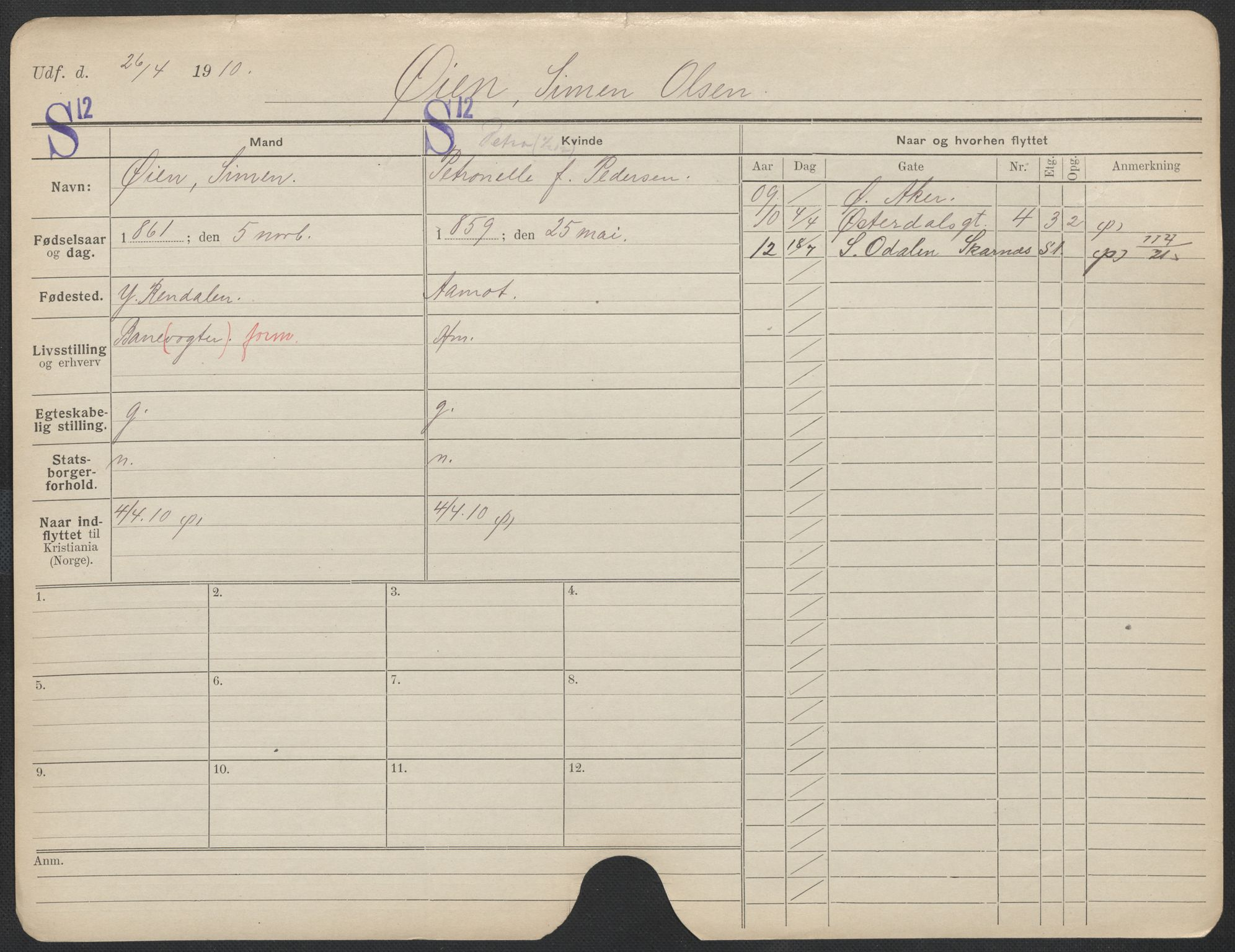 SAO, Oslo folkeregister, Registerkort, F/Fa/Fac/L0011: Menn, 1906-1914, s. 1051a