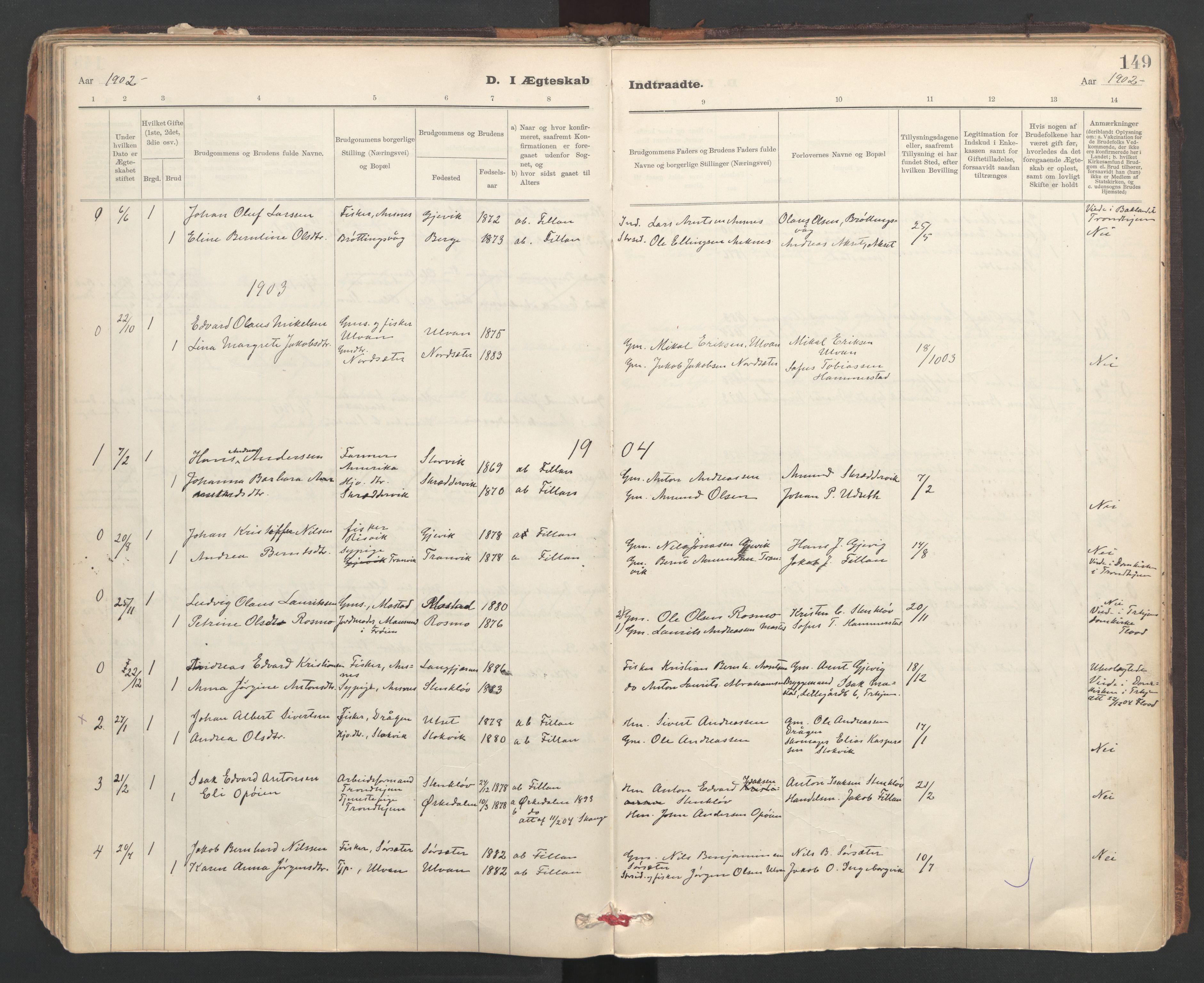 SAT, Ministerialprotokoller, klokkerbøker og fødselsregistre - Sør-Trøndelag, 637/L0559: Ministerialbok nr. 637A02, 1899-1923, s. 149
