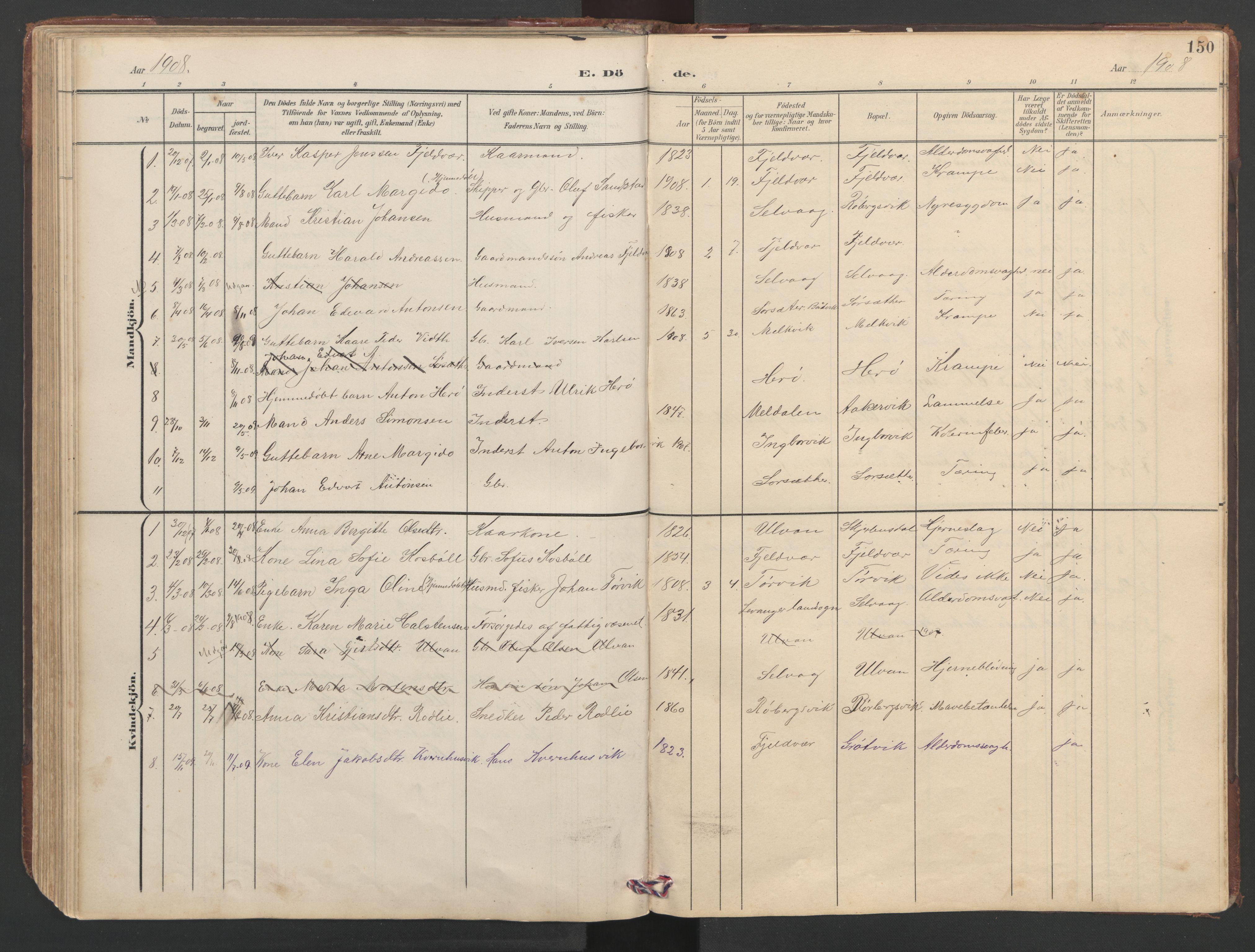 SAT, Ministerialprotokoller, klokkerbøker og fødselsregistre - Sør-Trøndelag, 638/L0571: Klokkerbok nr. 638C03, 1901-1930, s. 150