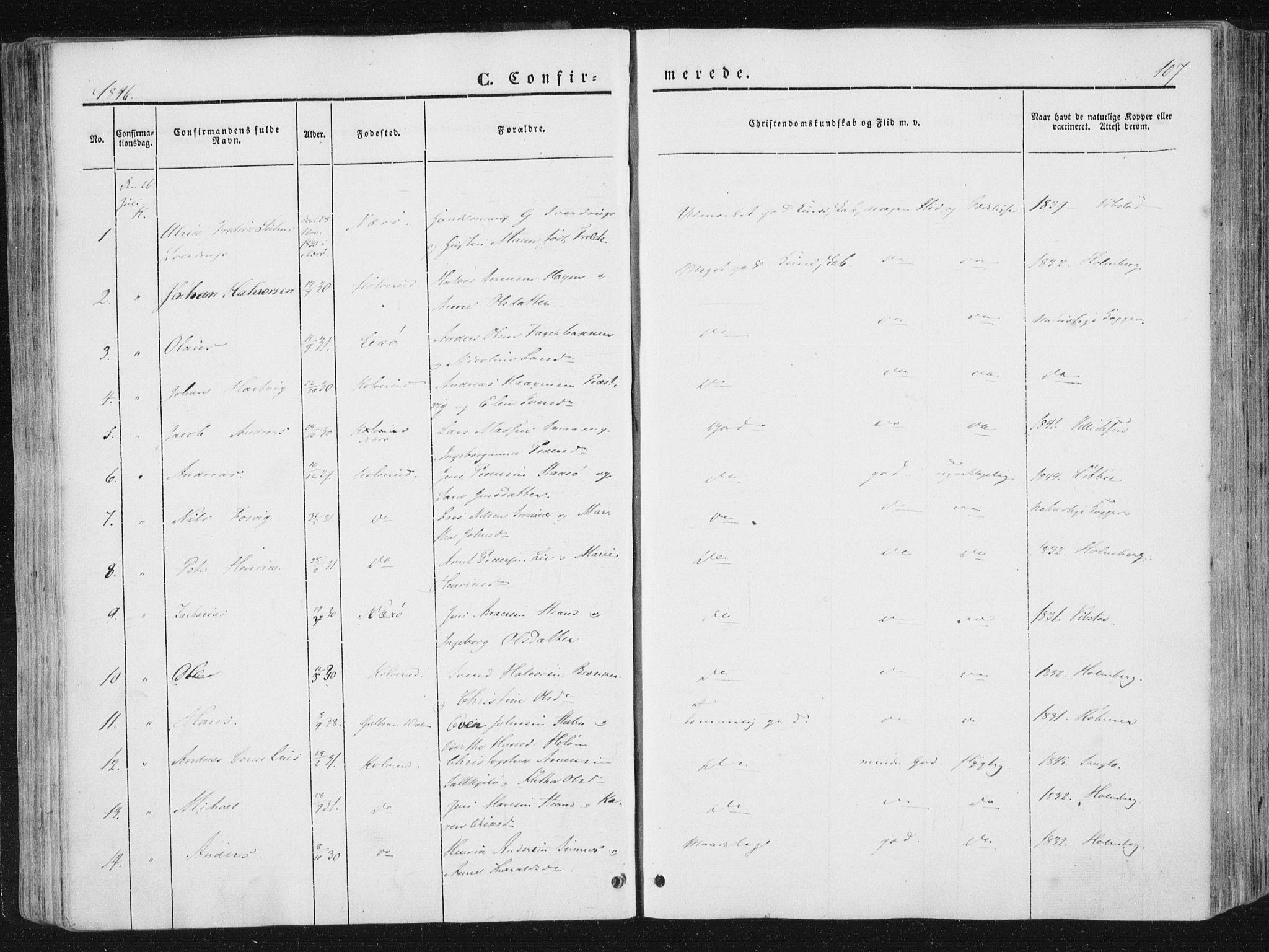 SAT, Ministerialprotokoller, klokkerbøker og fødselsregistre - Nord-Trøndelag, 780/L0640: Ministerialbok nr. 780A05, 1845-1856, s. 107