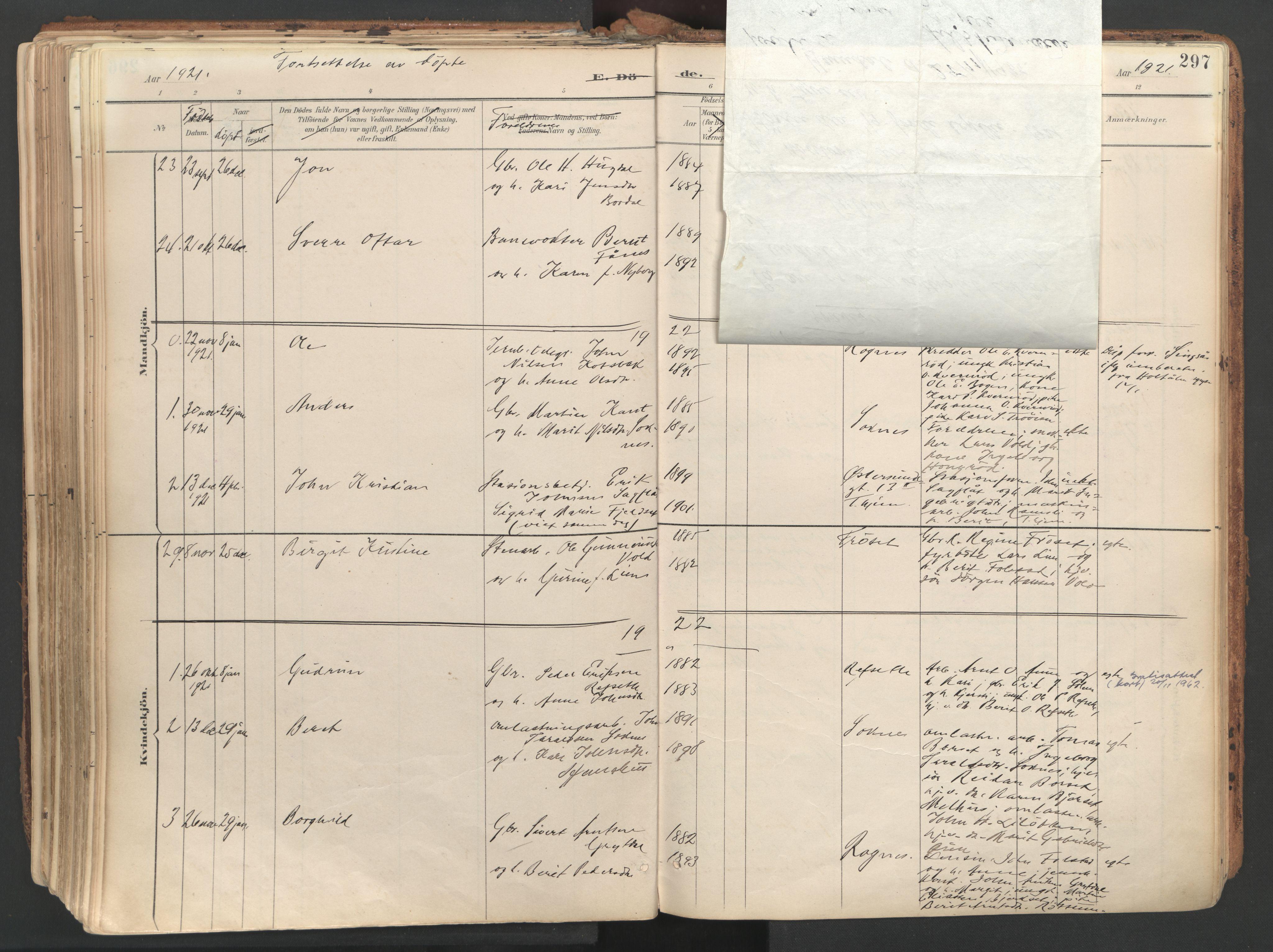SAT, Ministerialprotokoller, klokkerbøker og fødselsregistre - Sør-Trøndelag, 687/L1004: Ministerialbok nr. 687A10, 1891-1923, s. 297