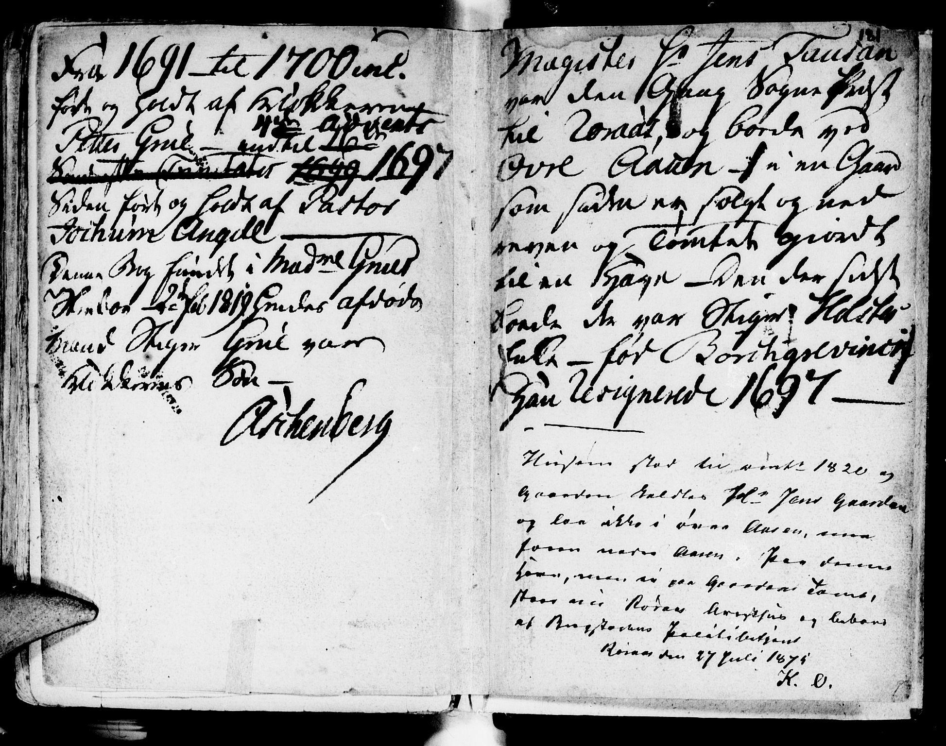 SAT, Ministerialprotokoller, klokkerbøker og fødselsregistre - Sør-Trøndelag, 681/L0923: Ministerialbok nr. 681A01, 1691-1700, s. 181