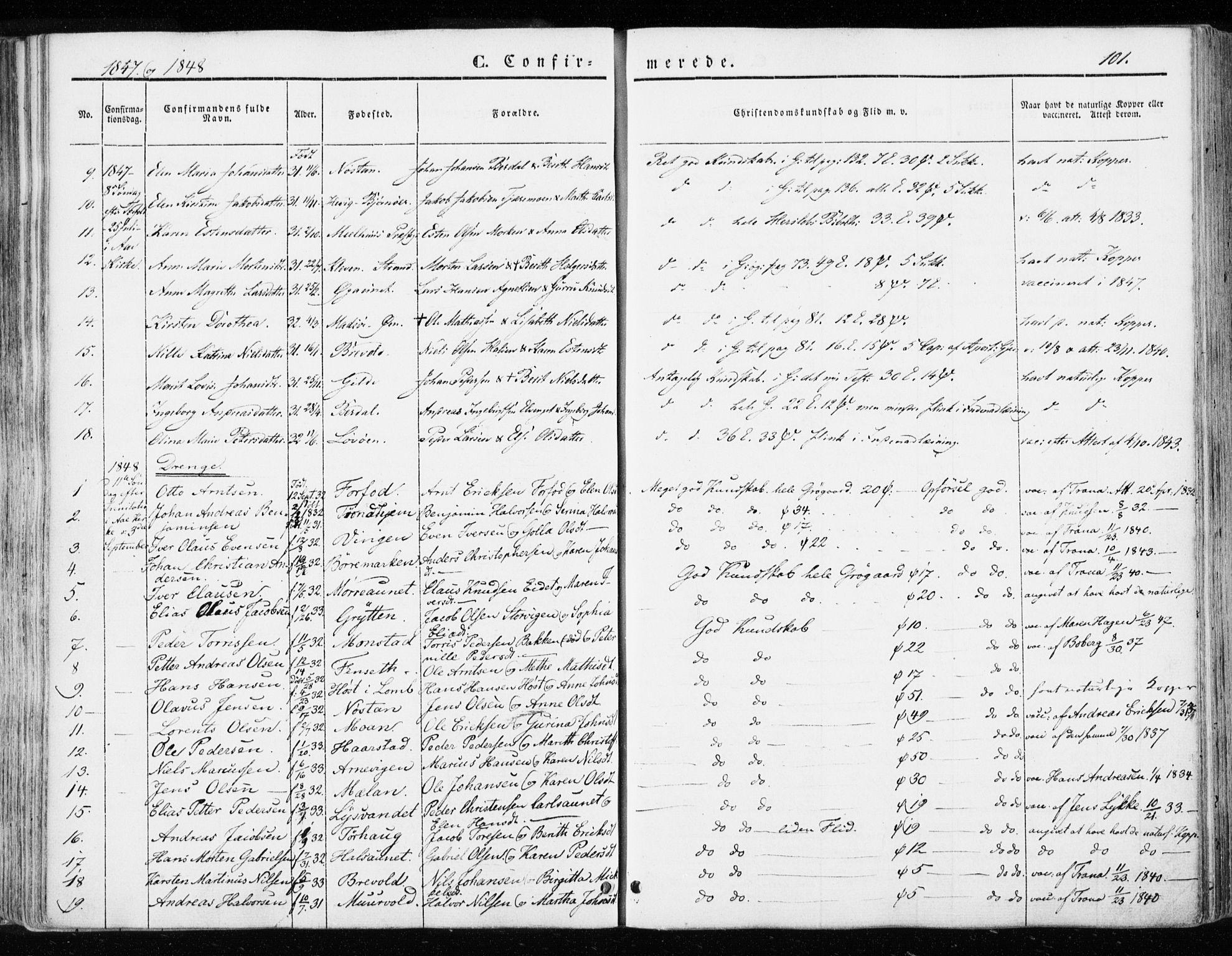SAT, Ministerialprotokoller, klokkerbøker og fødselsregistre - Sør-Trøndelag, 655/L0677: Ministerialbok nr. 655A06, 1847-1860, s. 101