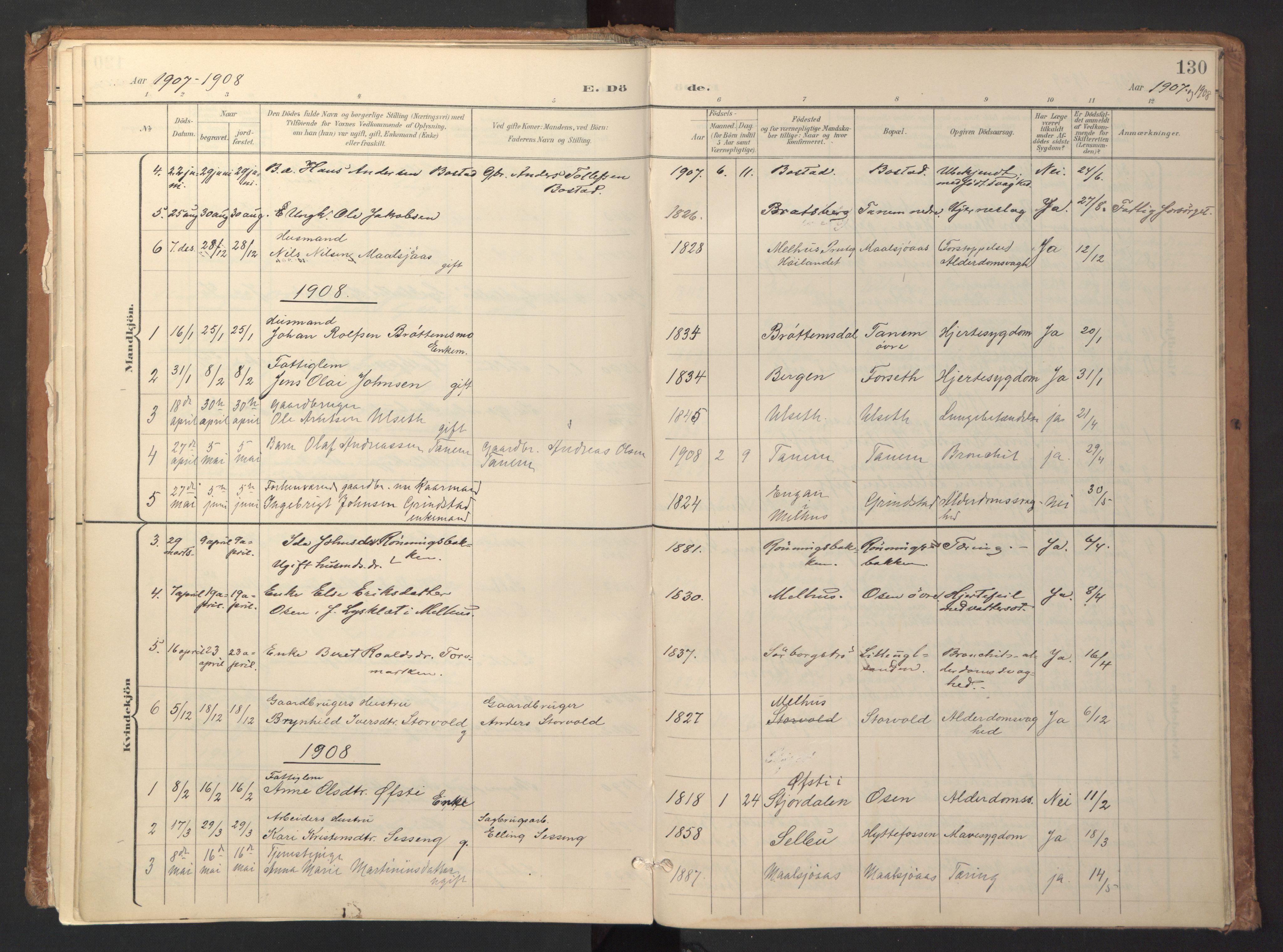SAT, Ministerialprotokoller, klokkerbøker og fødselsregistre - Sør-Trøndelag, 618/L0448: Ministerialbok nr. 618A11, 1898-1916, s. 130