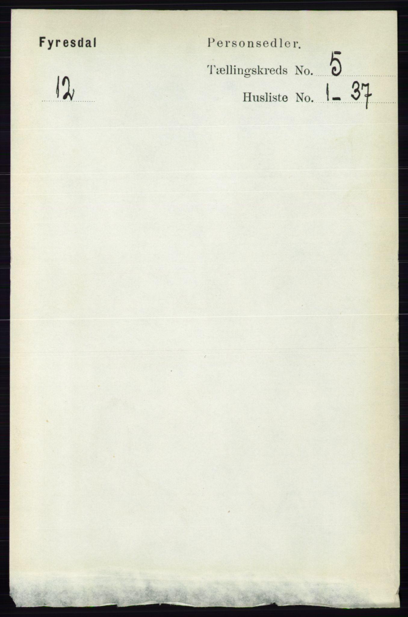 RA, Folketelling 1891 for 0831 Fyresdal herred, 1891, s. 1292