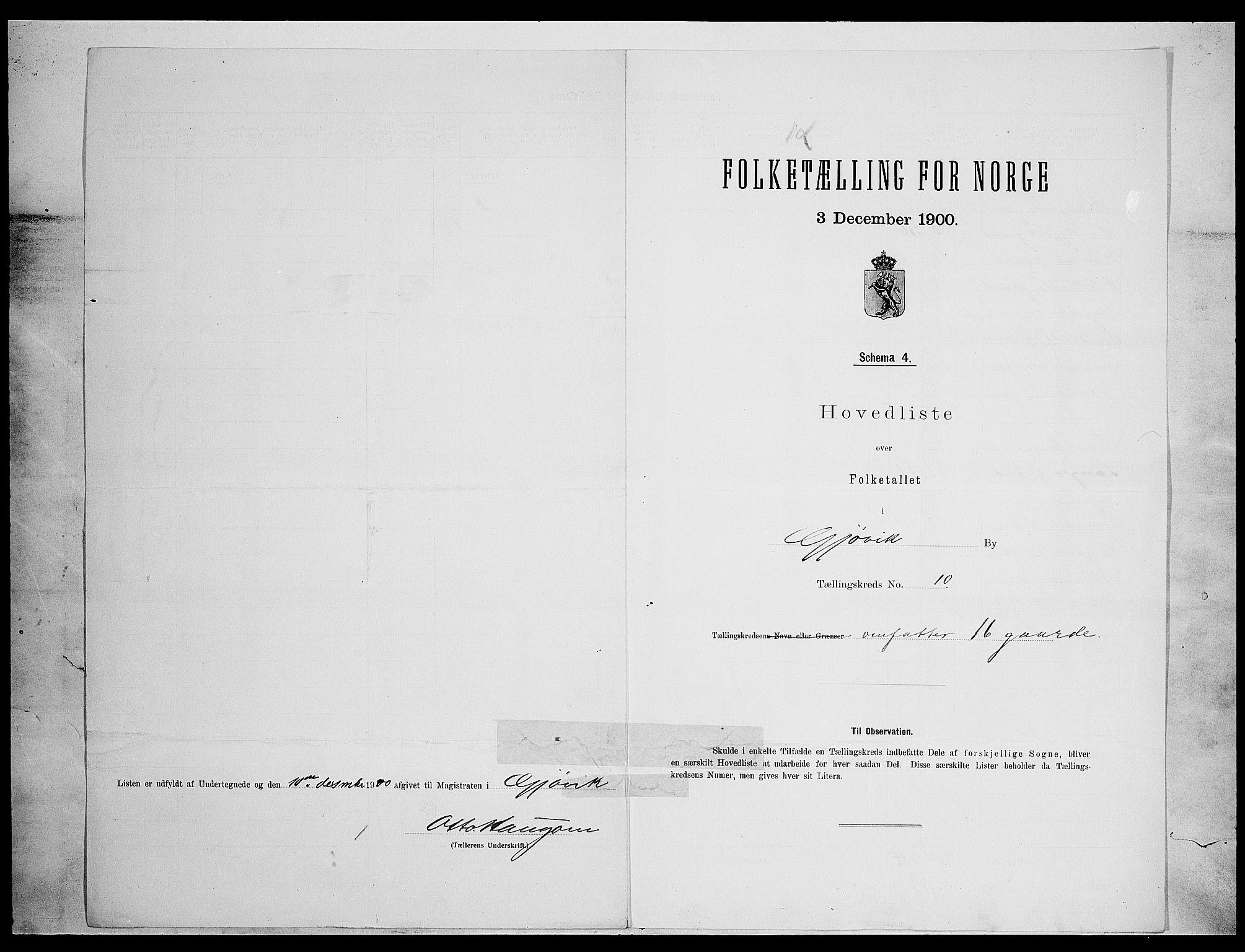 SAH, Folketelling 1900 for 0502 Gjøvik kjøpstad, 1900, s. 33