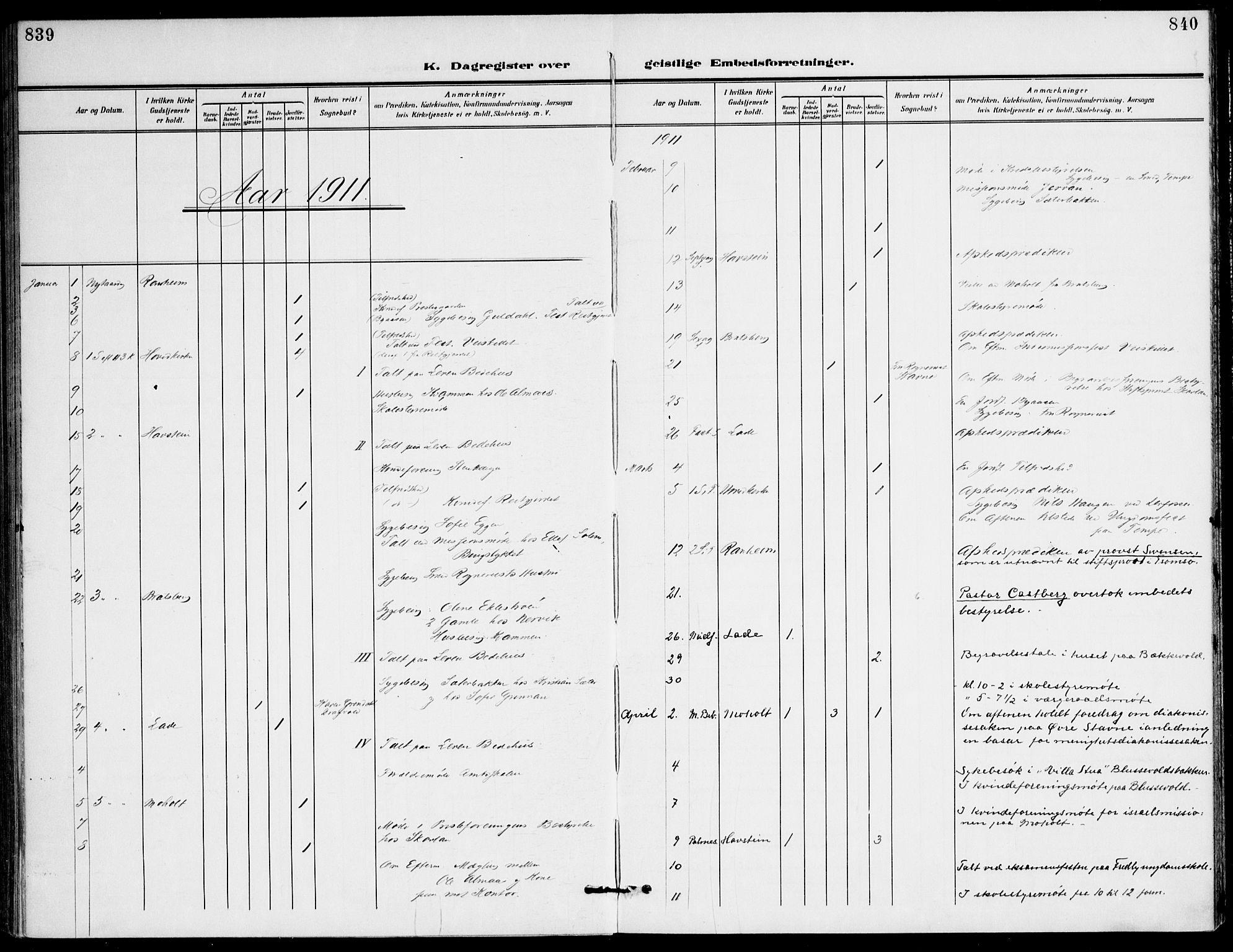 SAT, Ministerialprotokoller, klokkerbøker og fødselsregistre - Sør-Trøndelag, 607/L0320: Ministerialbok nr. 607A04, 1907-1915, s. 839-840